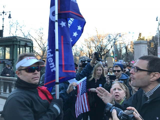Lone Trump Supporter Takes on Army of Protesters