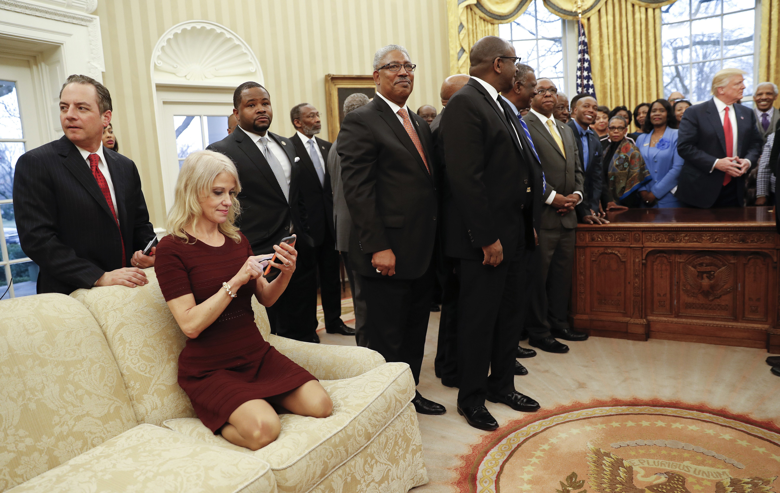 Admirable Kellyanne Conway Explains Why She Was Kneeling On Oval Ocoug Best Dining Table And Chair Ideas Images Ocougorg