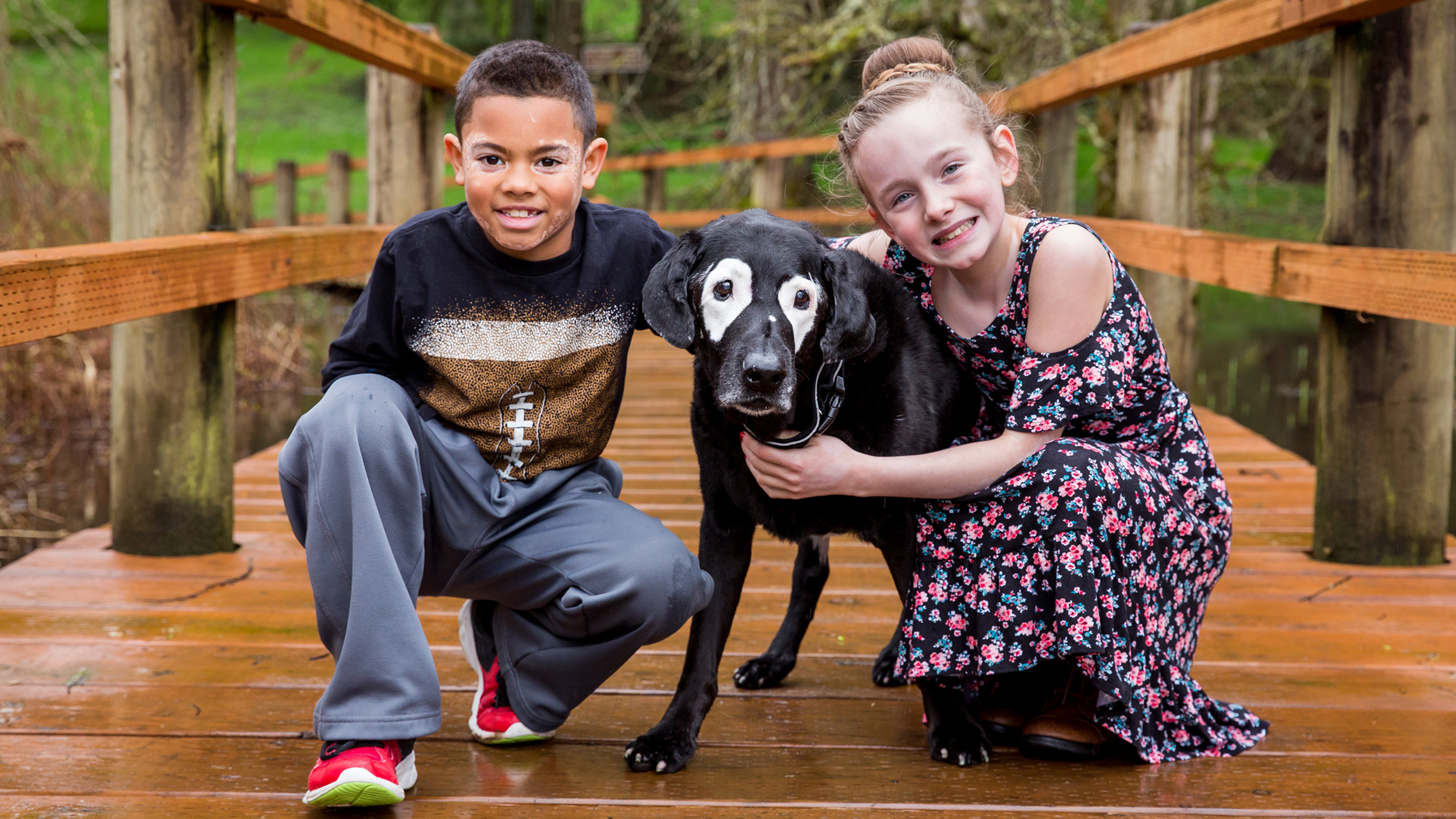 Dog With Vitiligo Meets Kids With The Condition