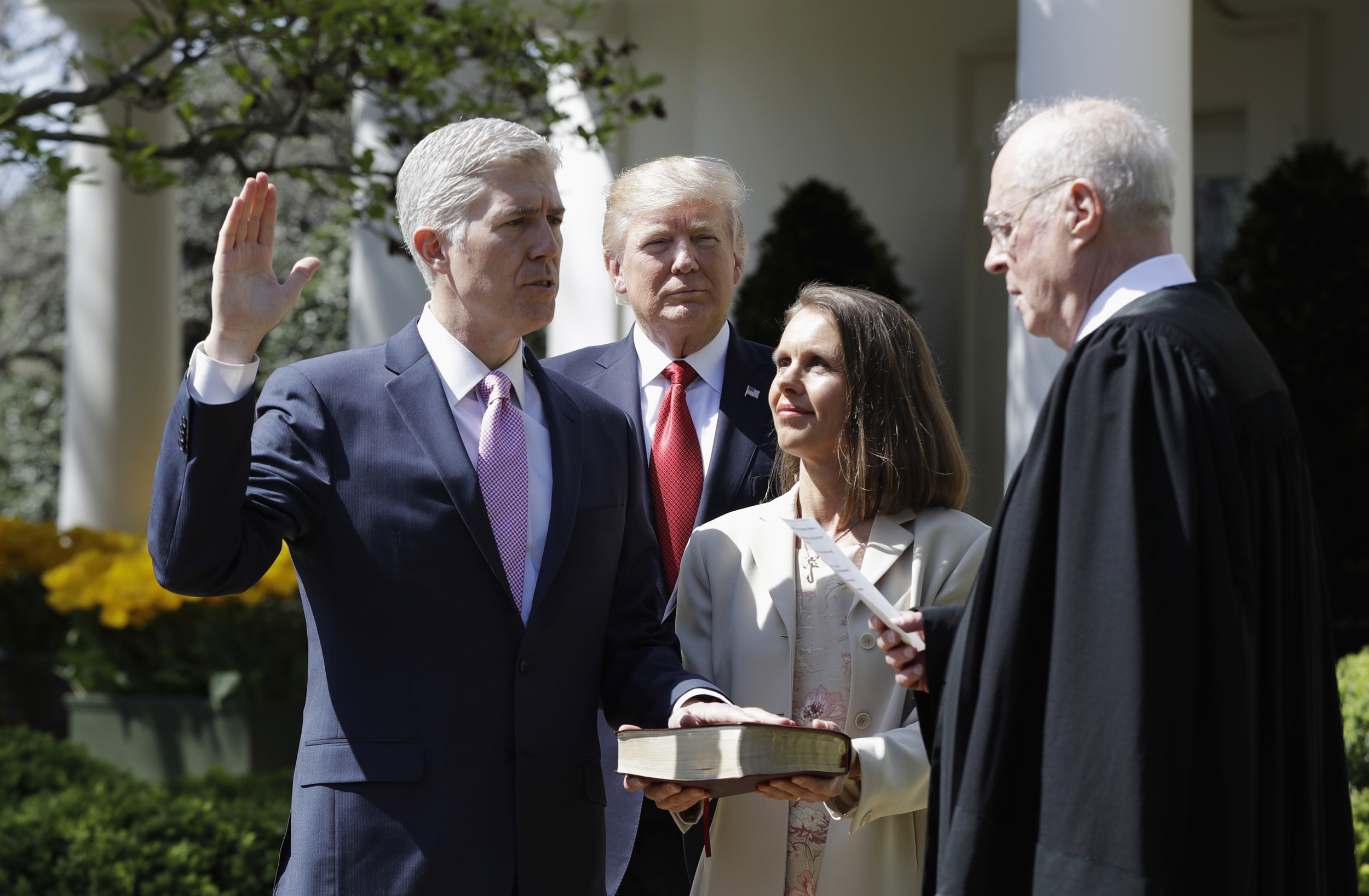 Image result for donald trump + swearing in ceremony with supreme court gorsuch