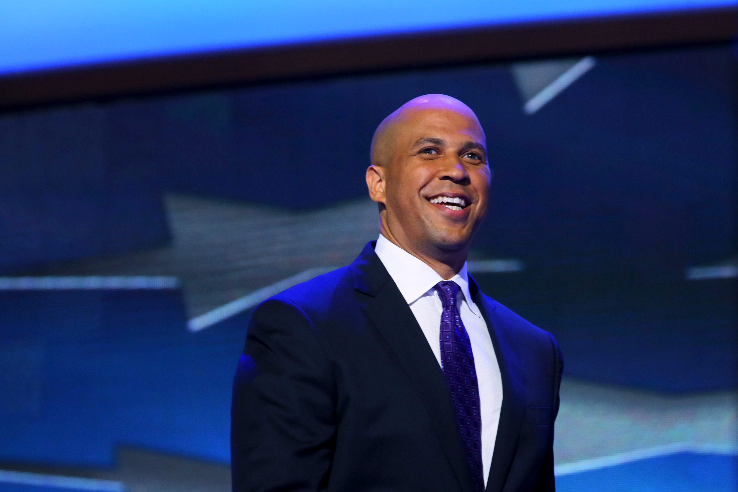 Image: Newark Mayor Cory Booker takes the stage to speak during day one of the Democratic National Convention at Time Warner Cable Arena on Sept. 4, 2012 in Charlotte, North Carolina.