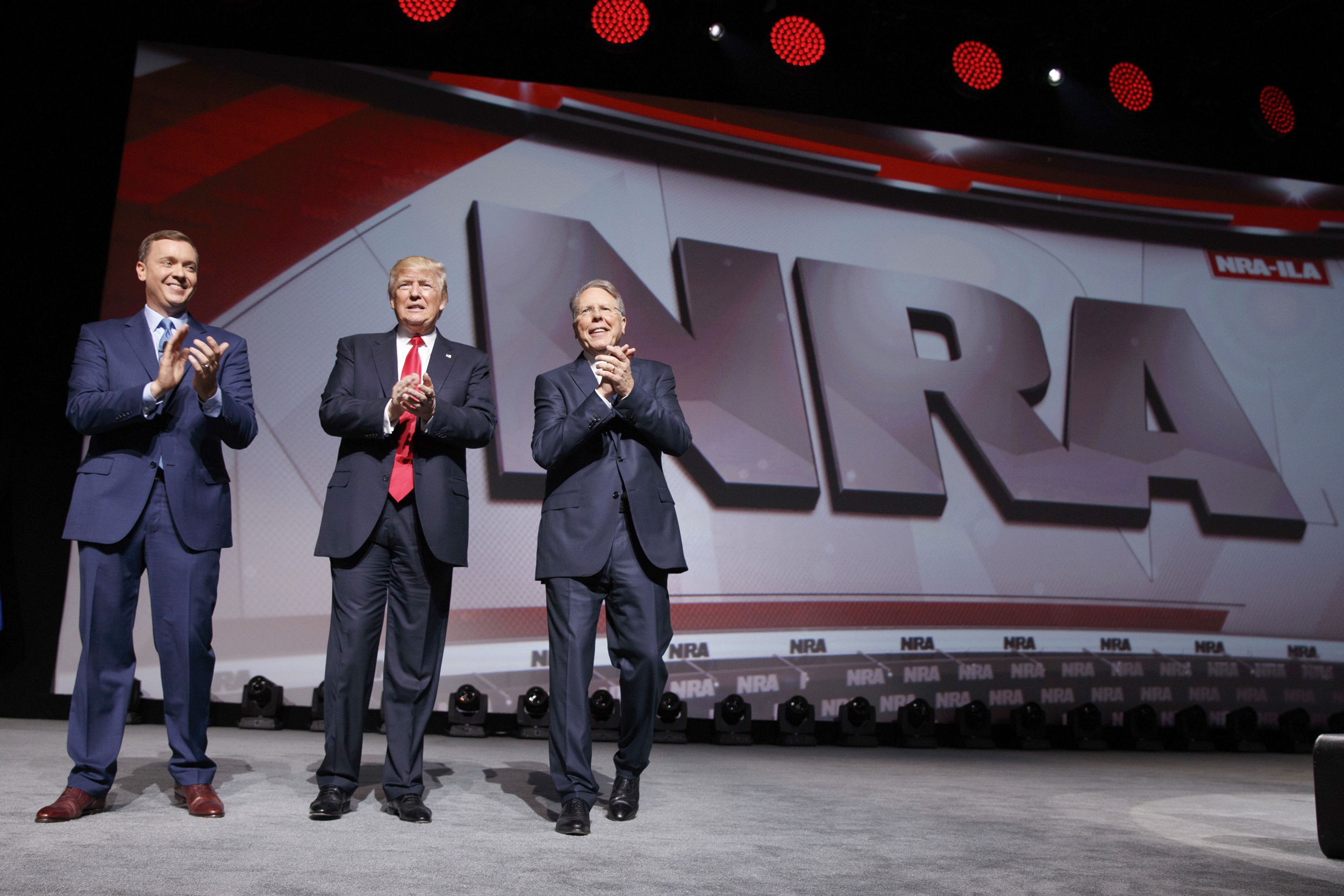 Image: Donald Trump, Chris Cox, Wayne LaPierre at NRA Event