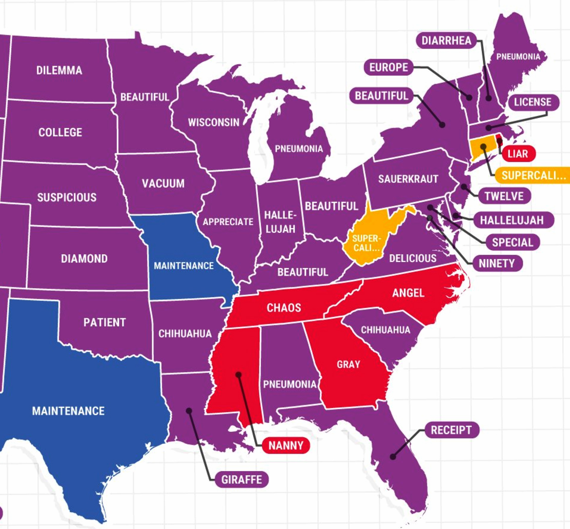 What are the most misspelled words in every state?