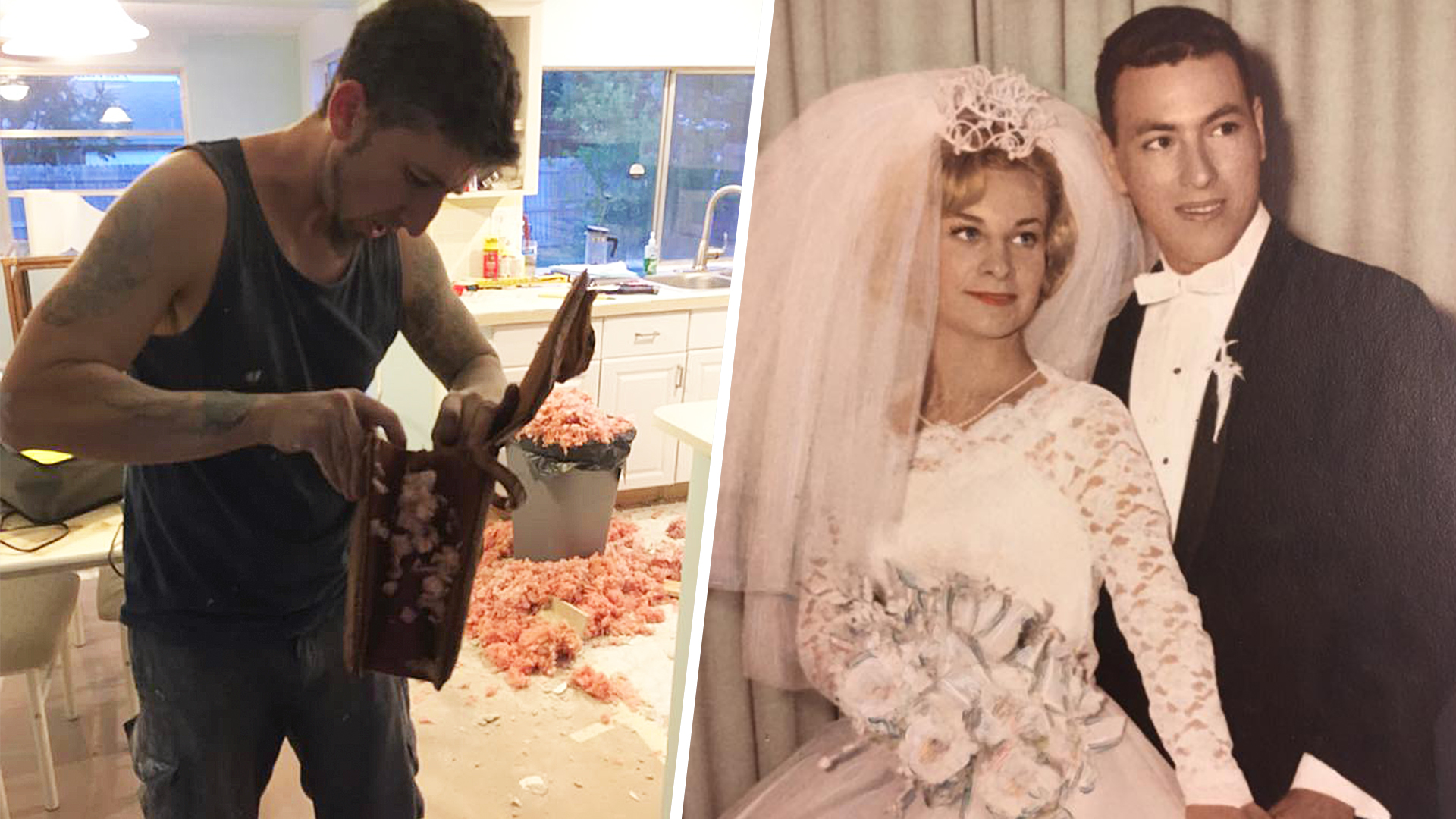 Real weddings today couple renovating kitchen finds mysterious 54 year old wedding album ombrellifo Images