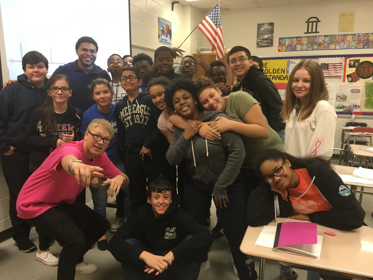 Image: David Yancey with his 8th grade students at Edwards Middle School