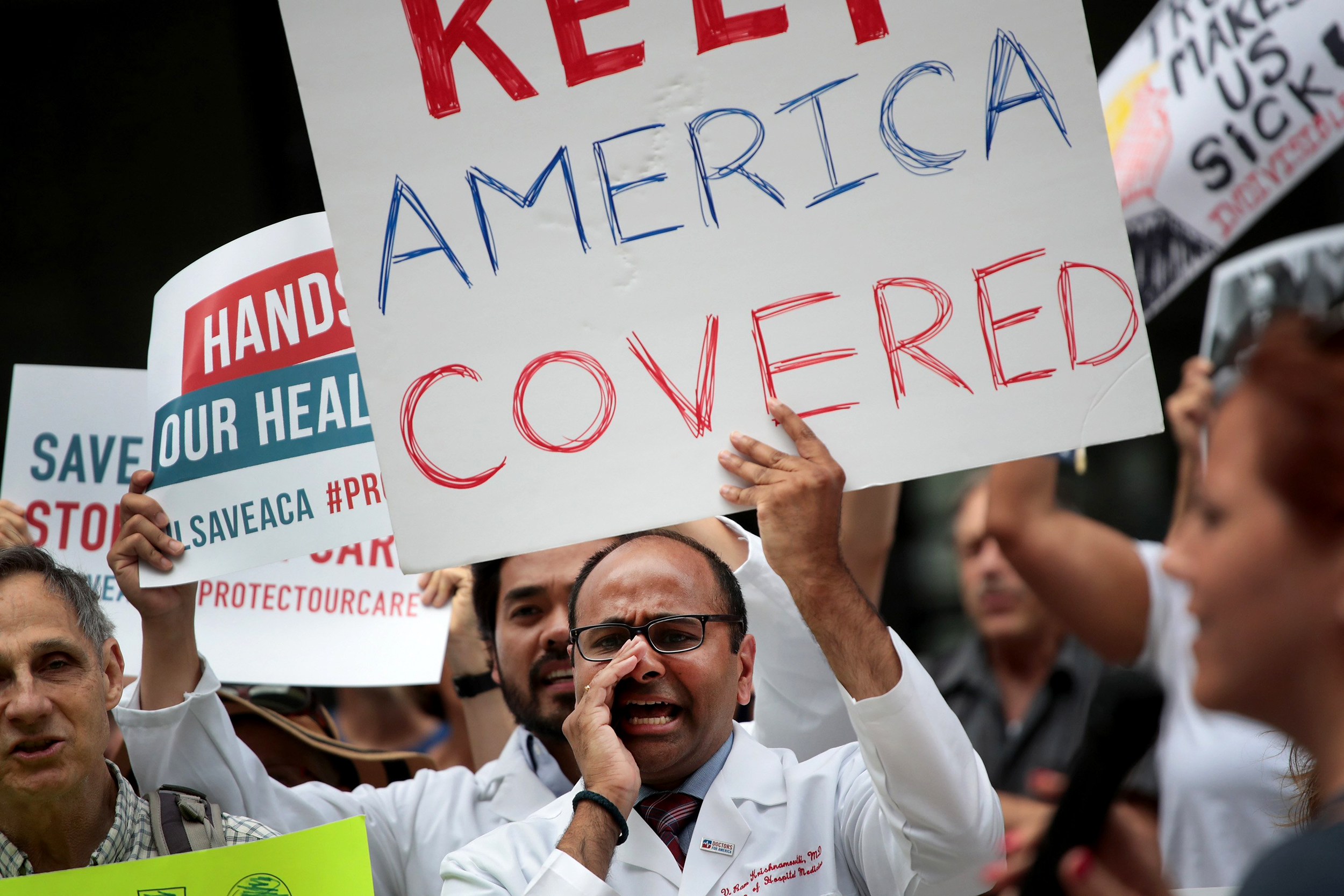 Image: Demonstrators protest changes to the Affordable Care Act on June 22, 2017 in Chicago, Illinois. Senate Republican's unveiled their revised health-care bill in Washington after fine tuning it in behind closed doors.