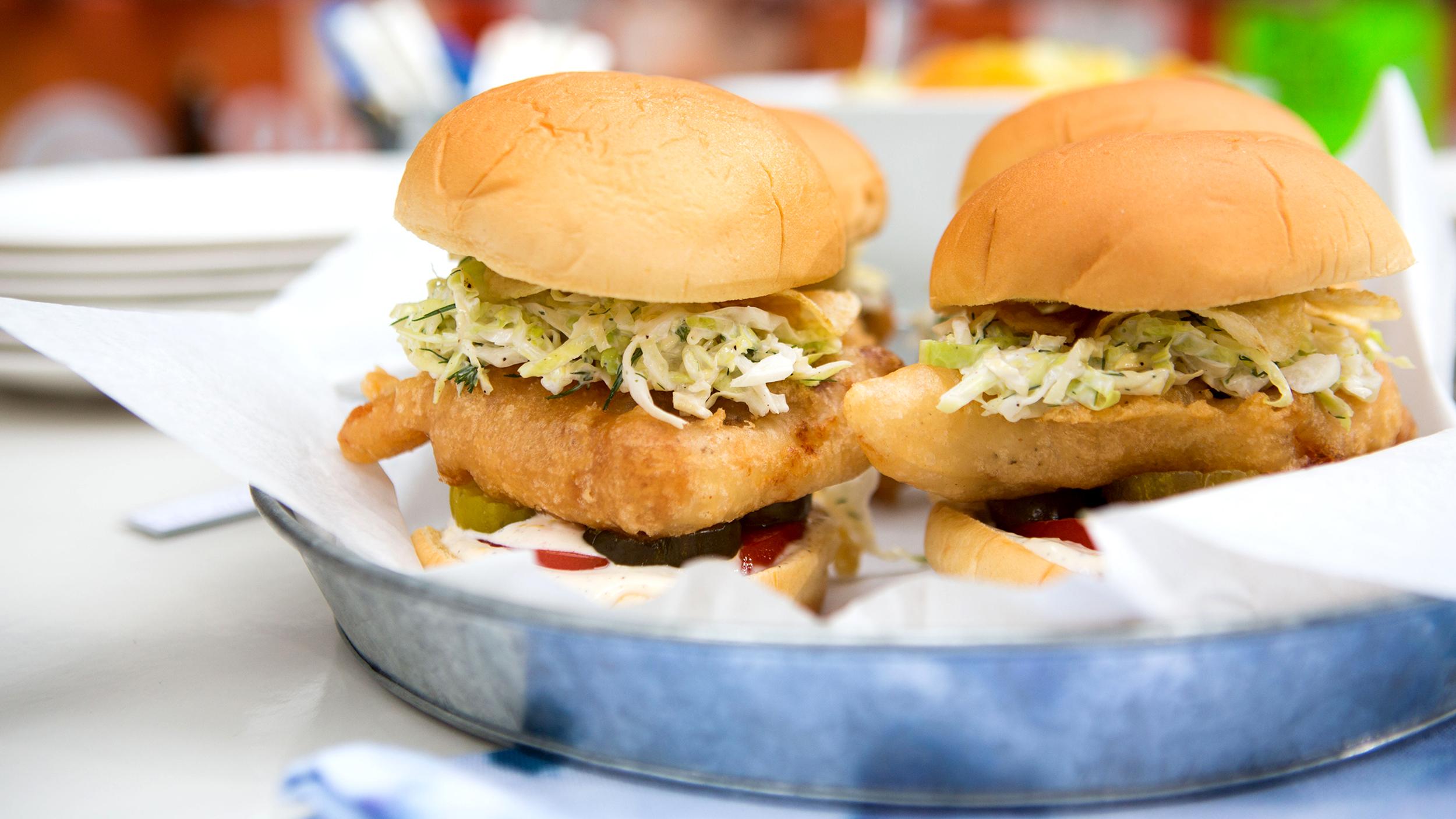 Martha stewart 39 s fish fry recipes fried fish sandwiches for Fish burger recipe