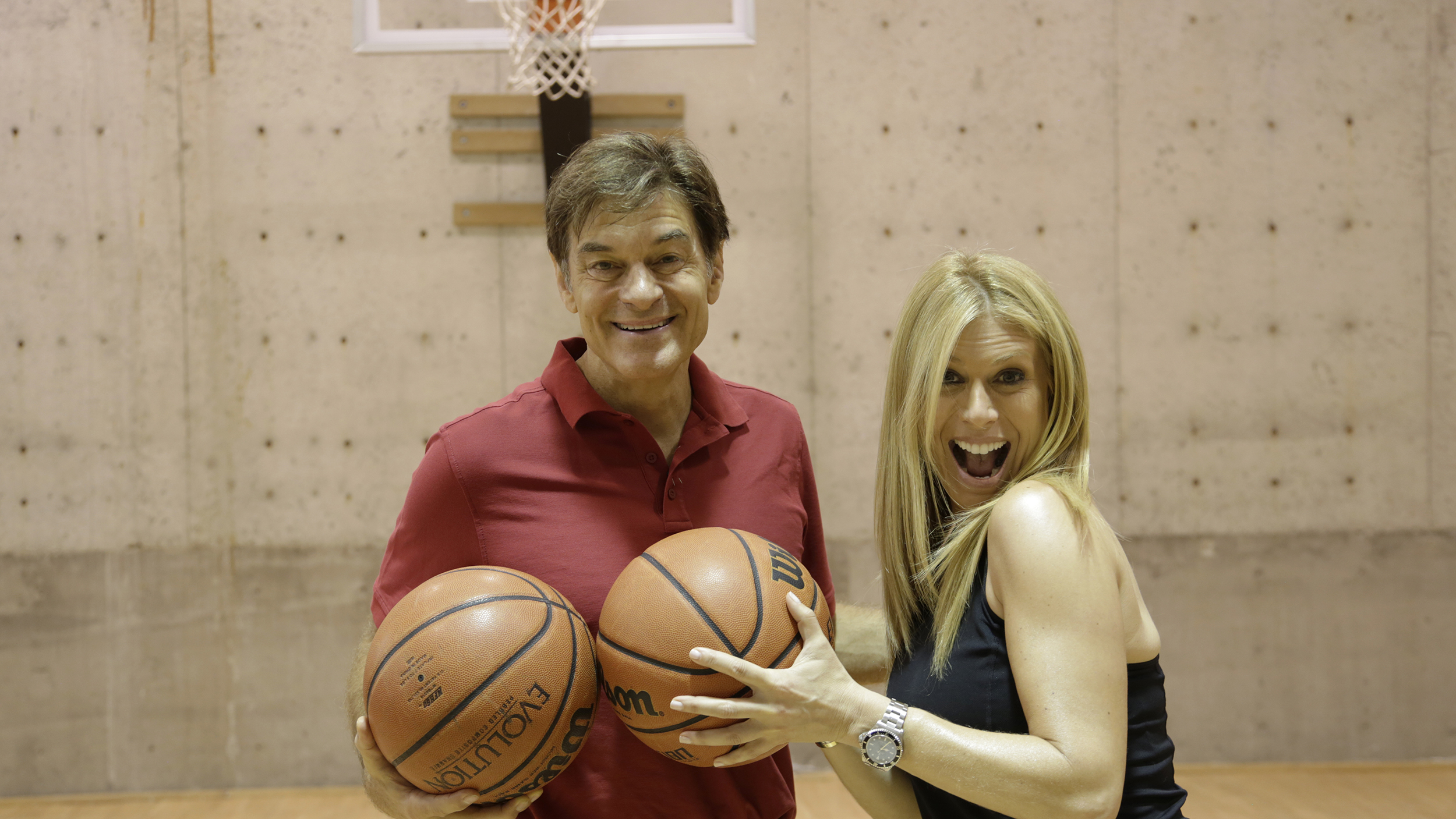 At home with today dr oz shows you around his in home for Basketball court at home