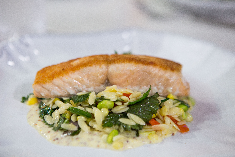 salmon with edamame succotash