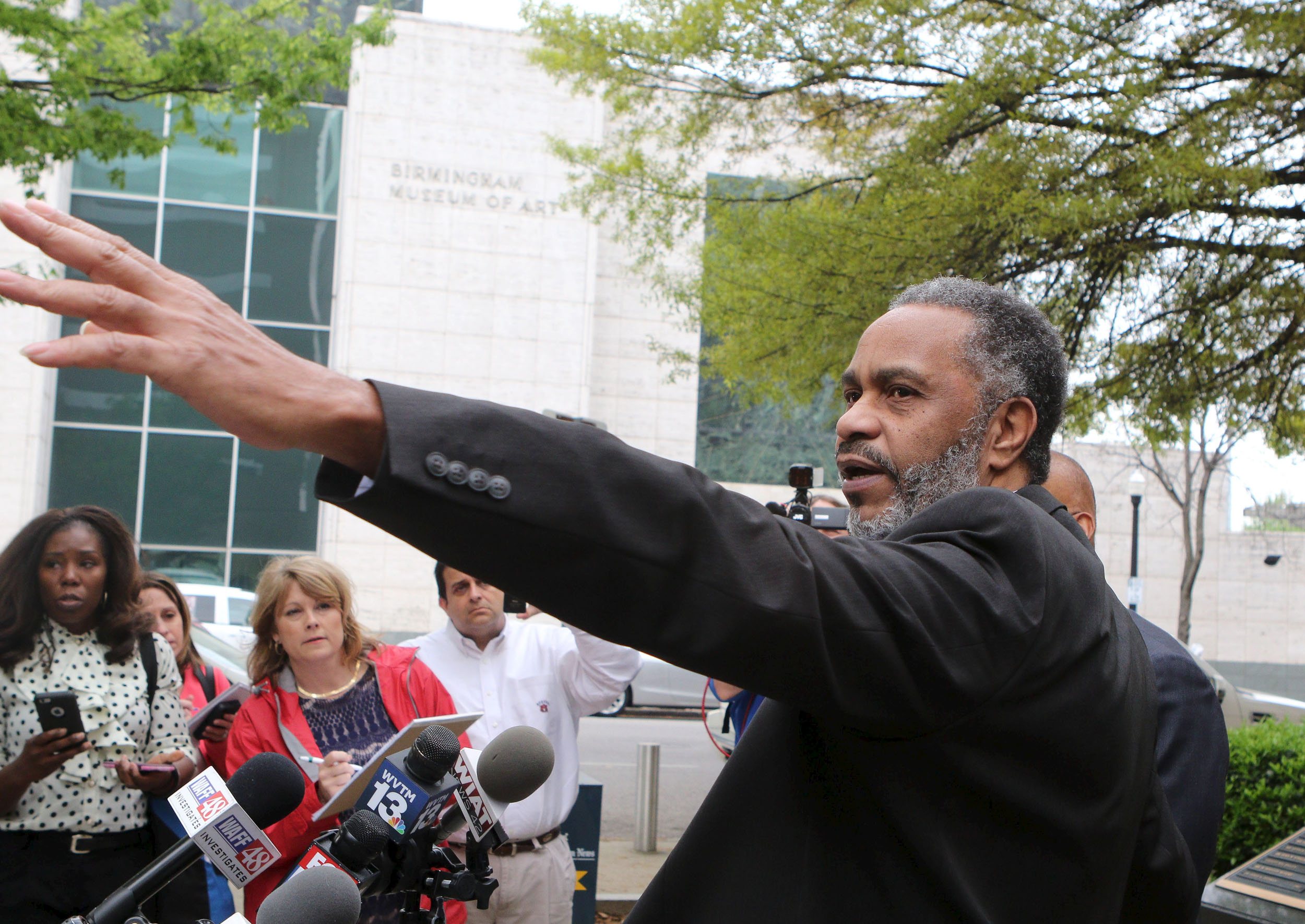 Image: Anthony Ray Hinton speaks to the media outside Jefferson County Jail in Birmingham, Alabama, April 3, 2015.