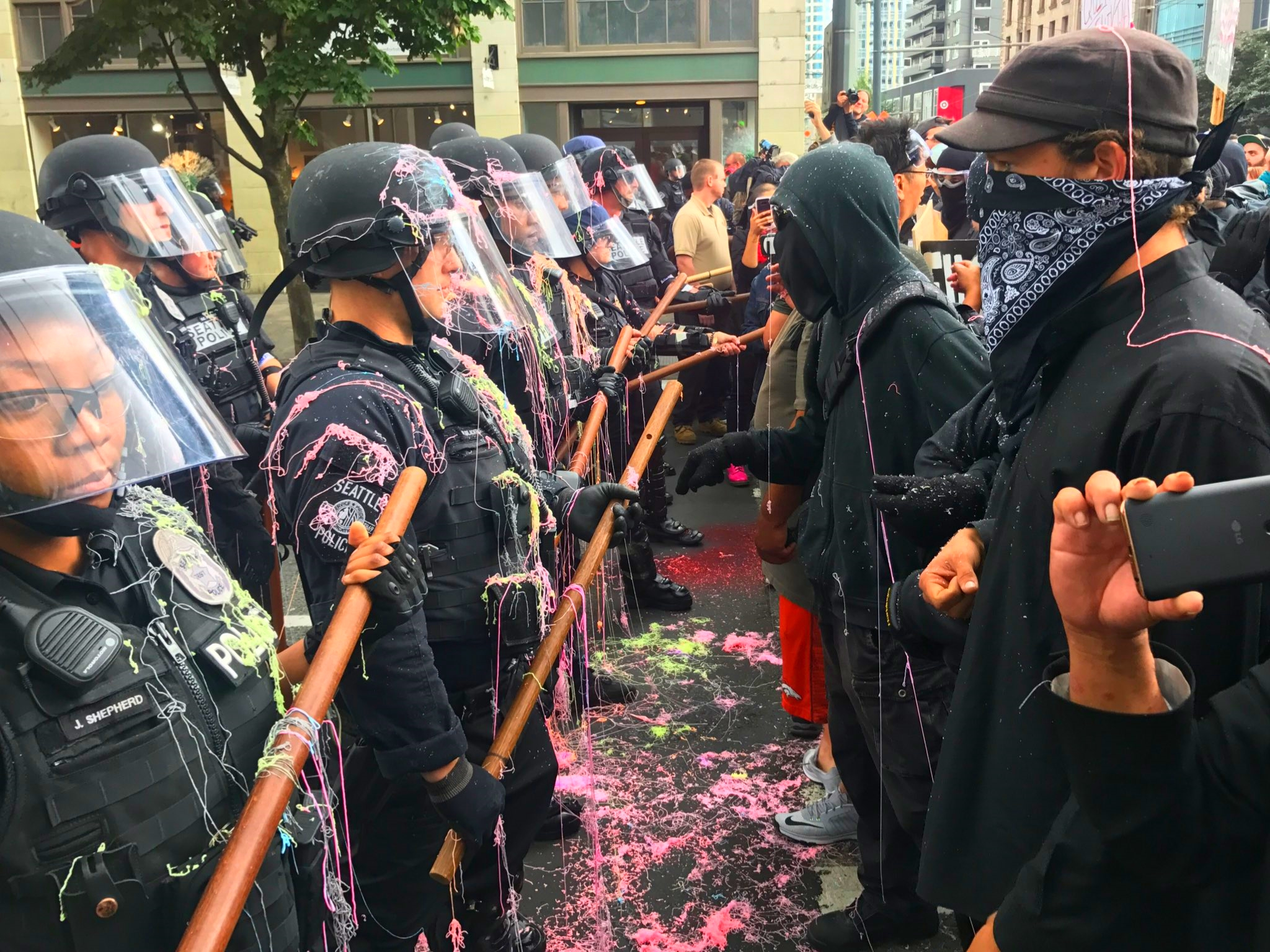 IMAGE: Protesters and police in Seattle