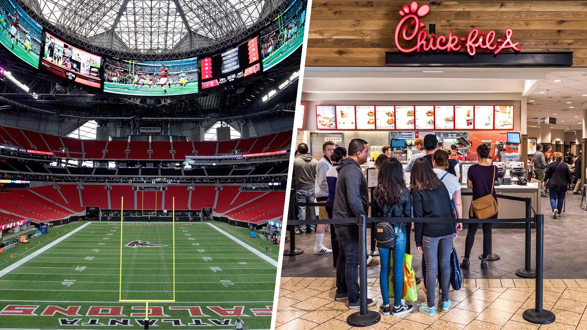 Chick fil a mercedes benz stadium atlanta closed for Dining at t stadium