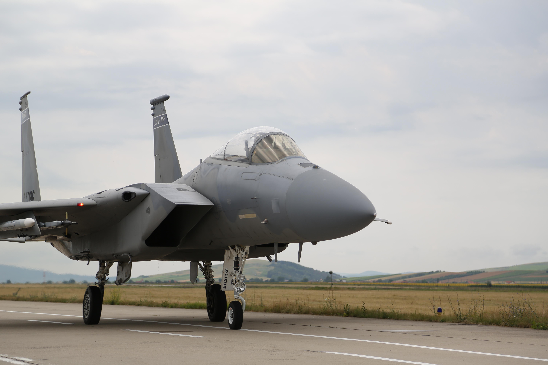 Image: U.S. F-15s temporarily stationed at Campia Turzii, Romania.