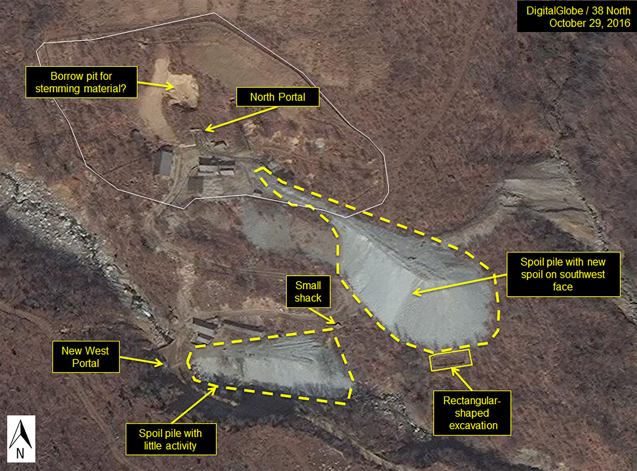 Image: Excavation continued underground on Oct. 19, 2016 in the North Portal area at the Punggye-Ri Nuclear Test Site, suggesting more tests to come in the same tunnel complex directly under Mt. Mantap.