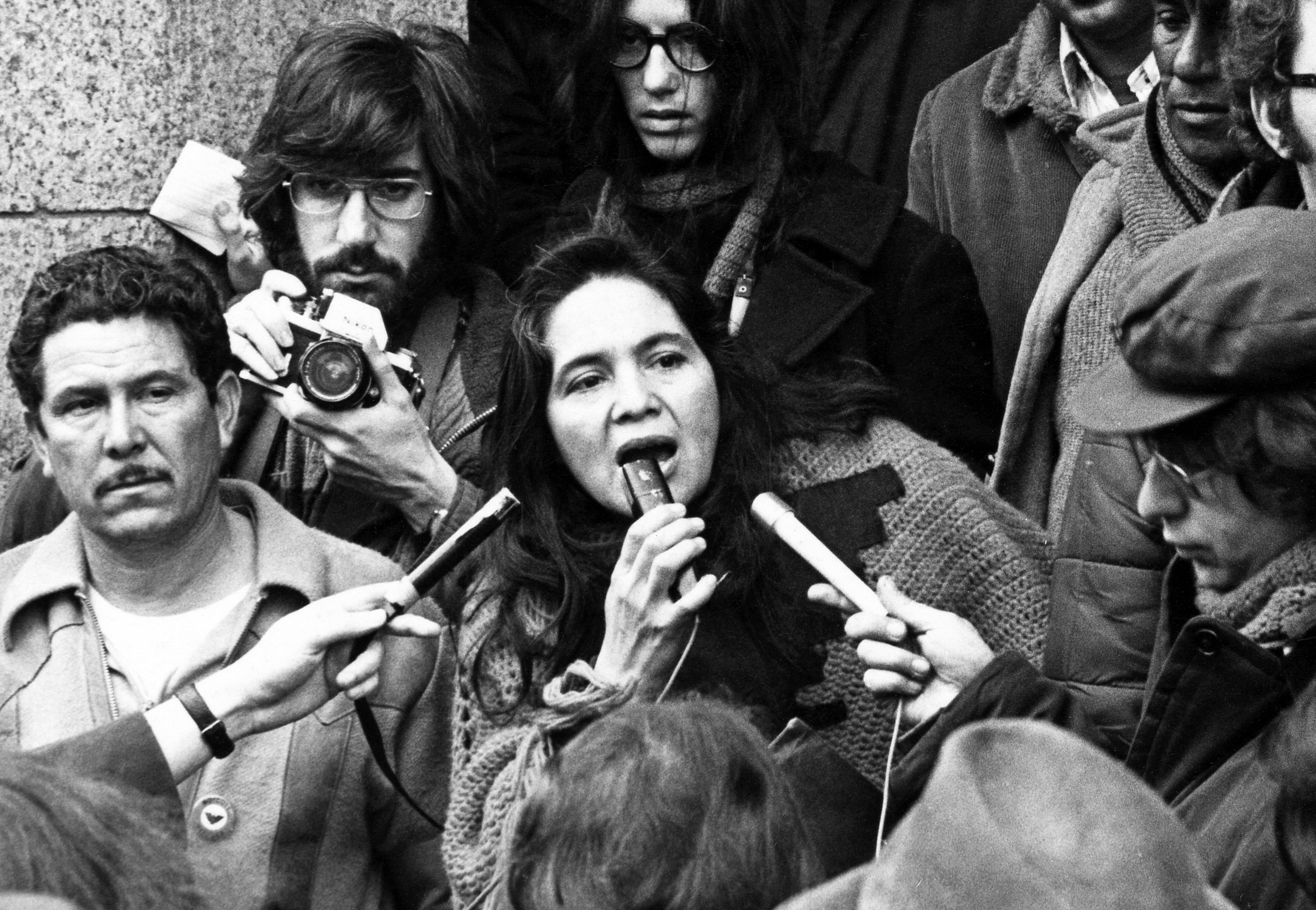 Image: United Farm Workers' Dolores Huerta organizing farm workers in Coachella, California, in 1969