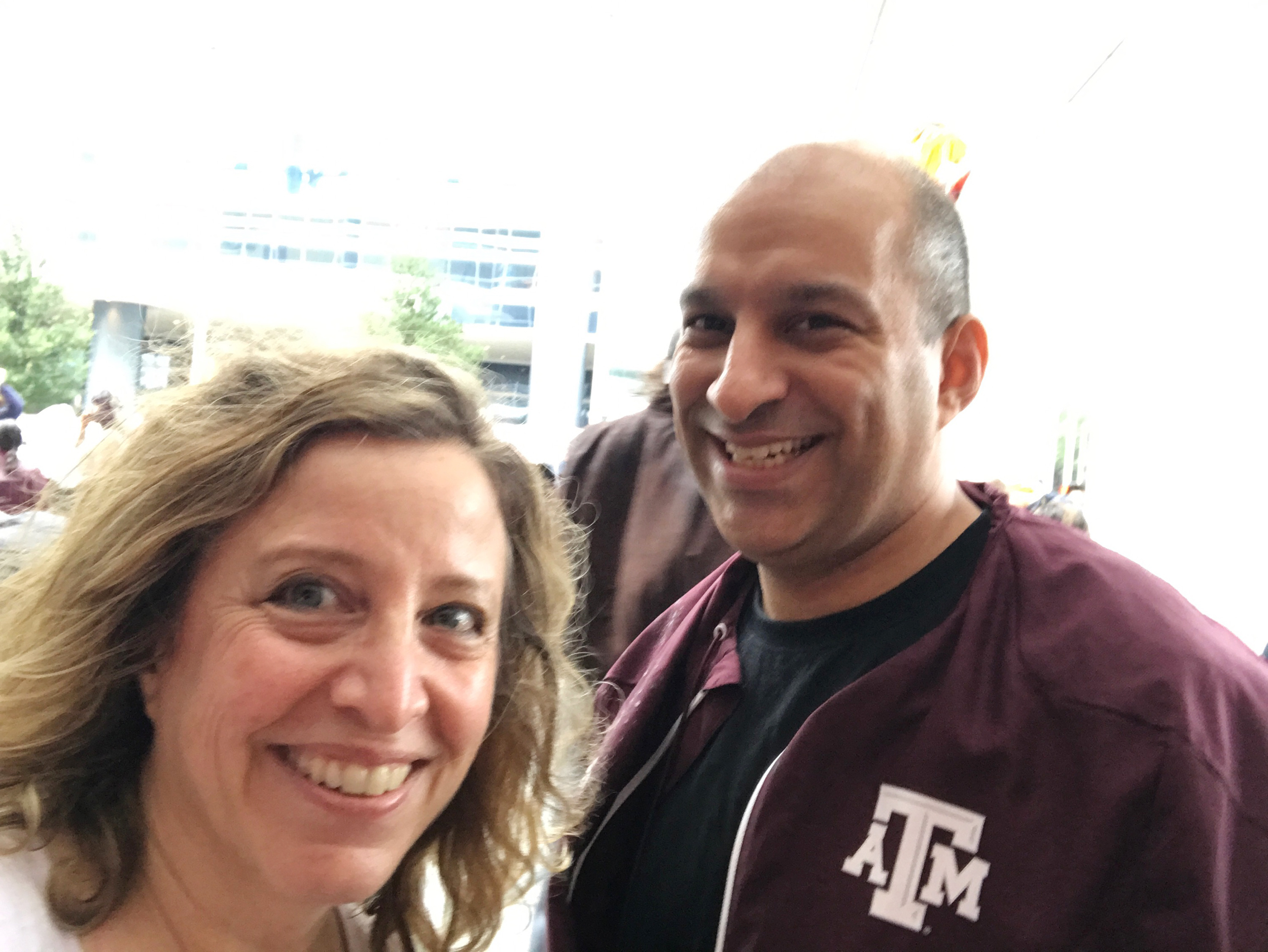 Image: Houston attorney and resident Beto Cardenas and fellow volunteer Karen Penner have been helping out at Houston's convention center