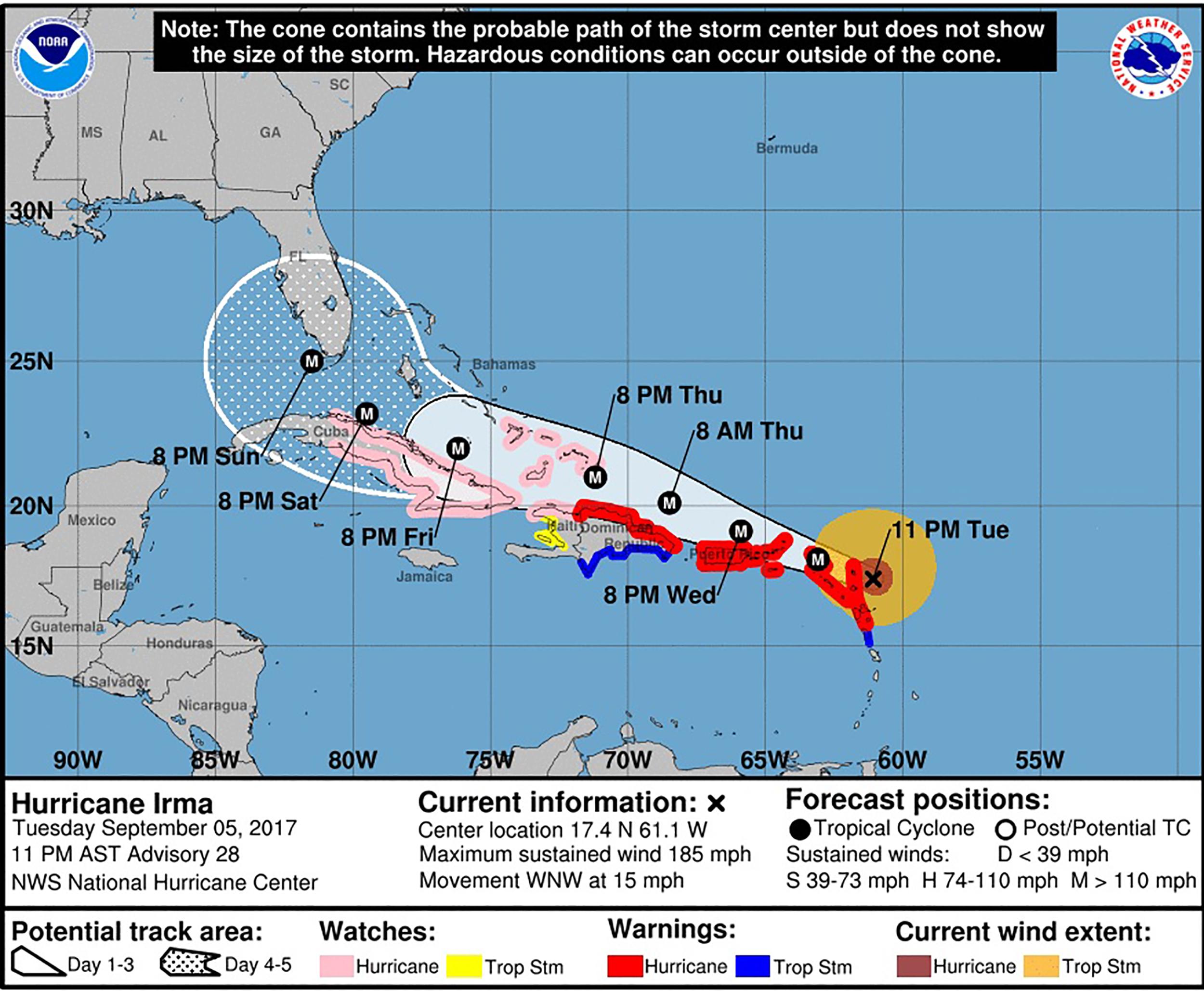 Image: Hurricane Irma projection