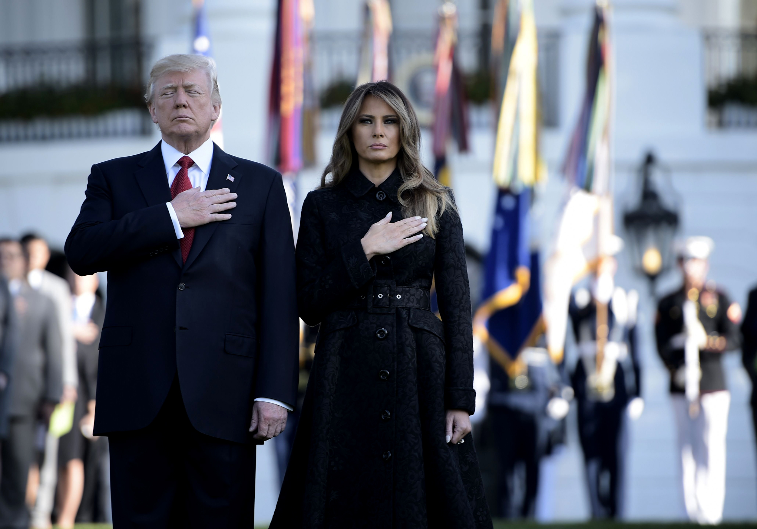 Image: President Donald Trump and First Lady Melania Trump observe a moment of silence on Sept. 11, 2017, at the White House during the 16th anniversary of 9/11.
