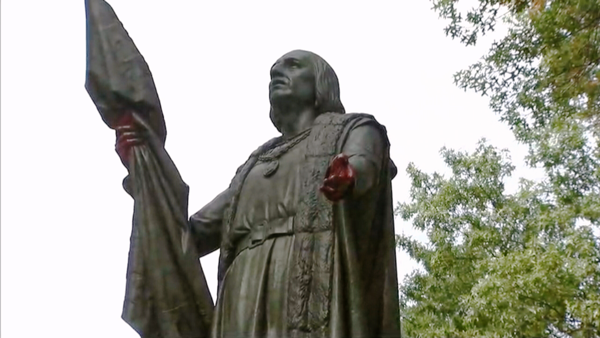 Image: A statue of Christopher Columbus was vandalized in Central Park in New York
