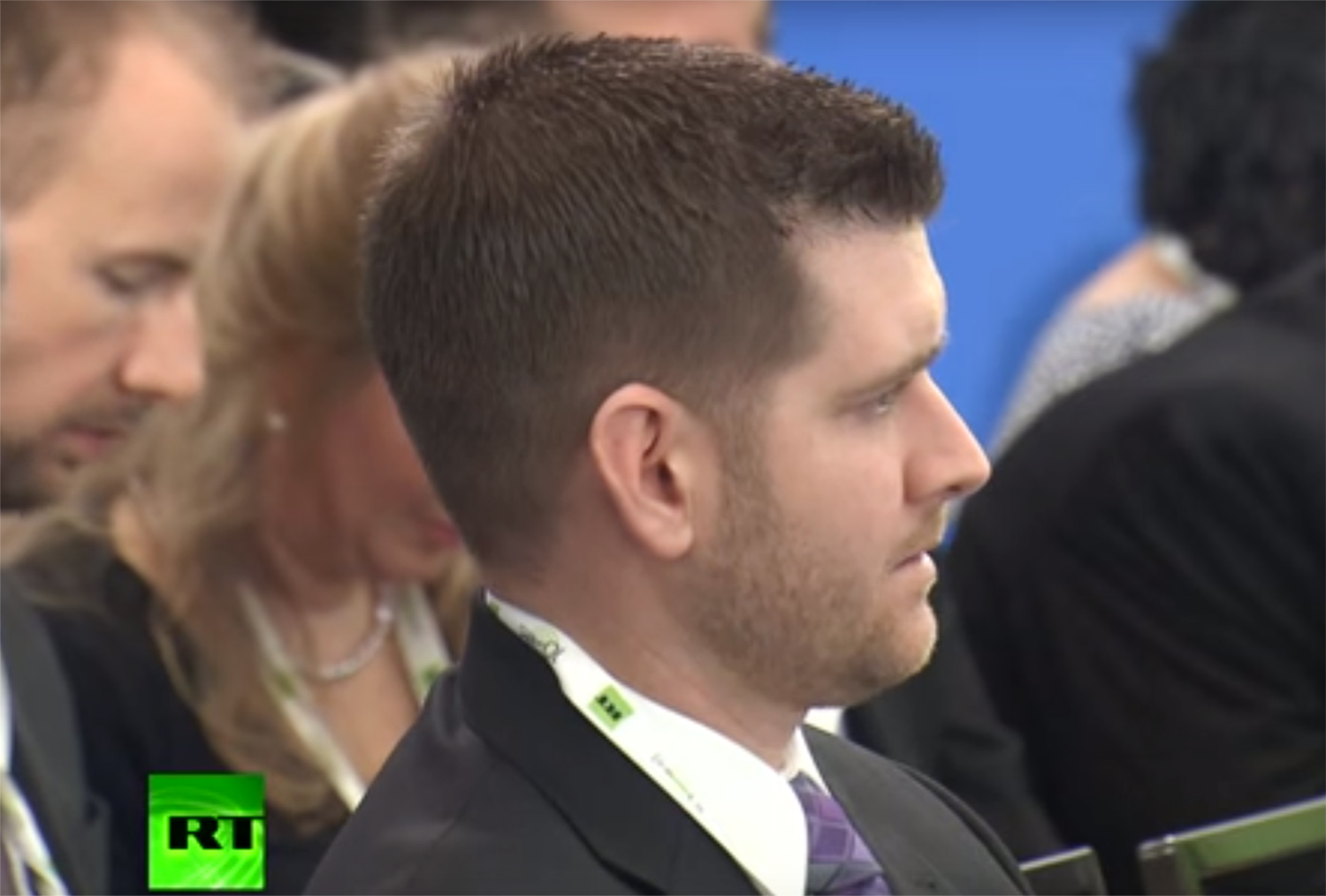 Image: Michael G. Flynn during at an RT event with his father Ret. Lt. Gen. Mike Flynn in Moscow in 2015