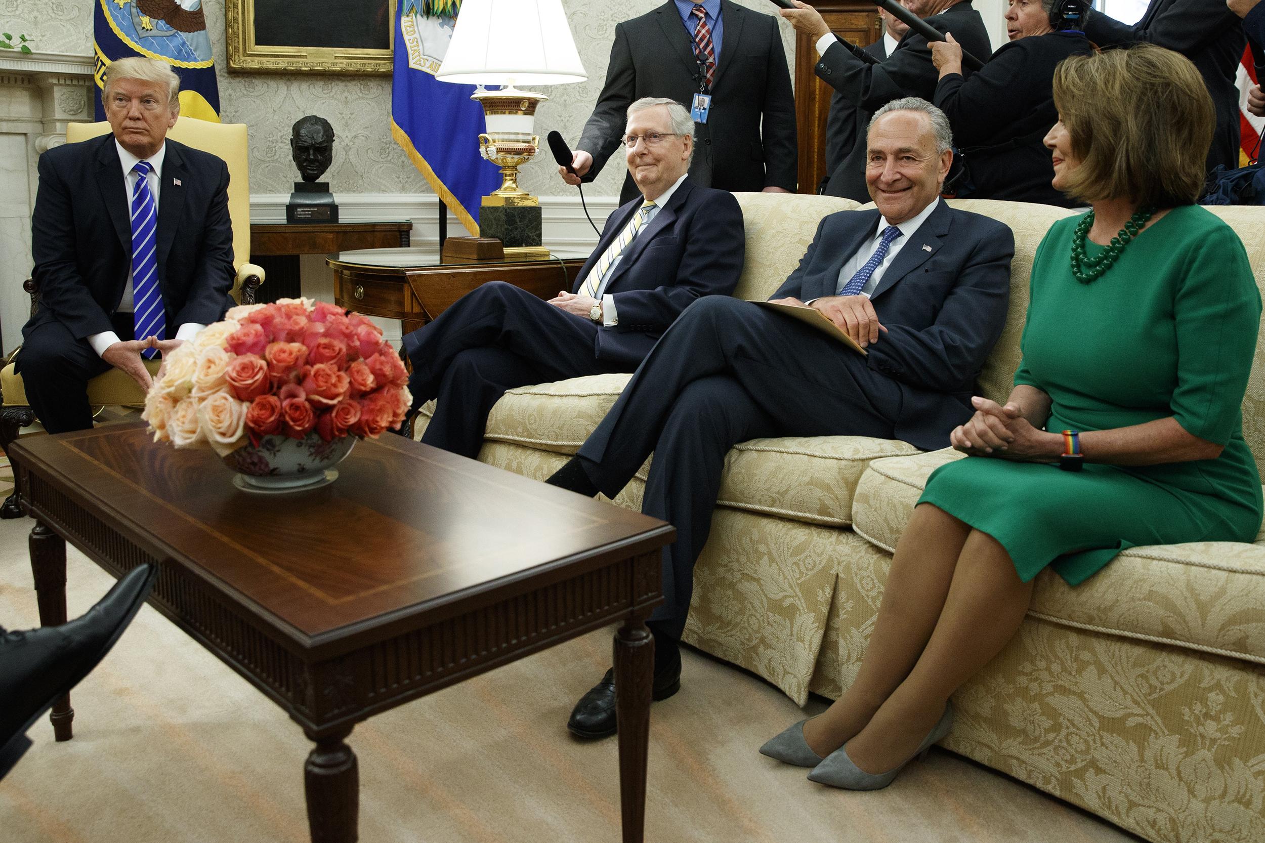 Image: Donald Trump, Chuck Schumer, Mitch McConnell, Nancy Pelosi
