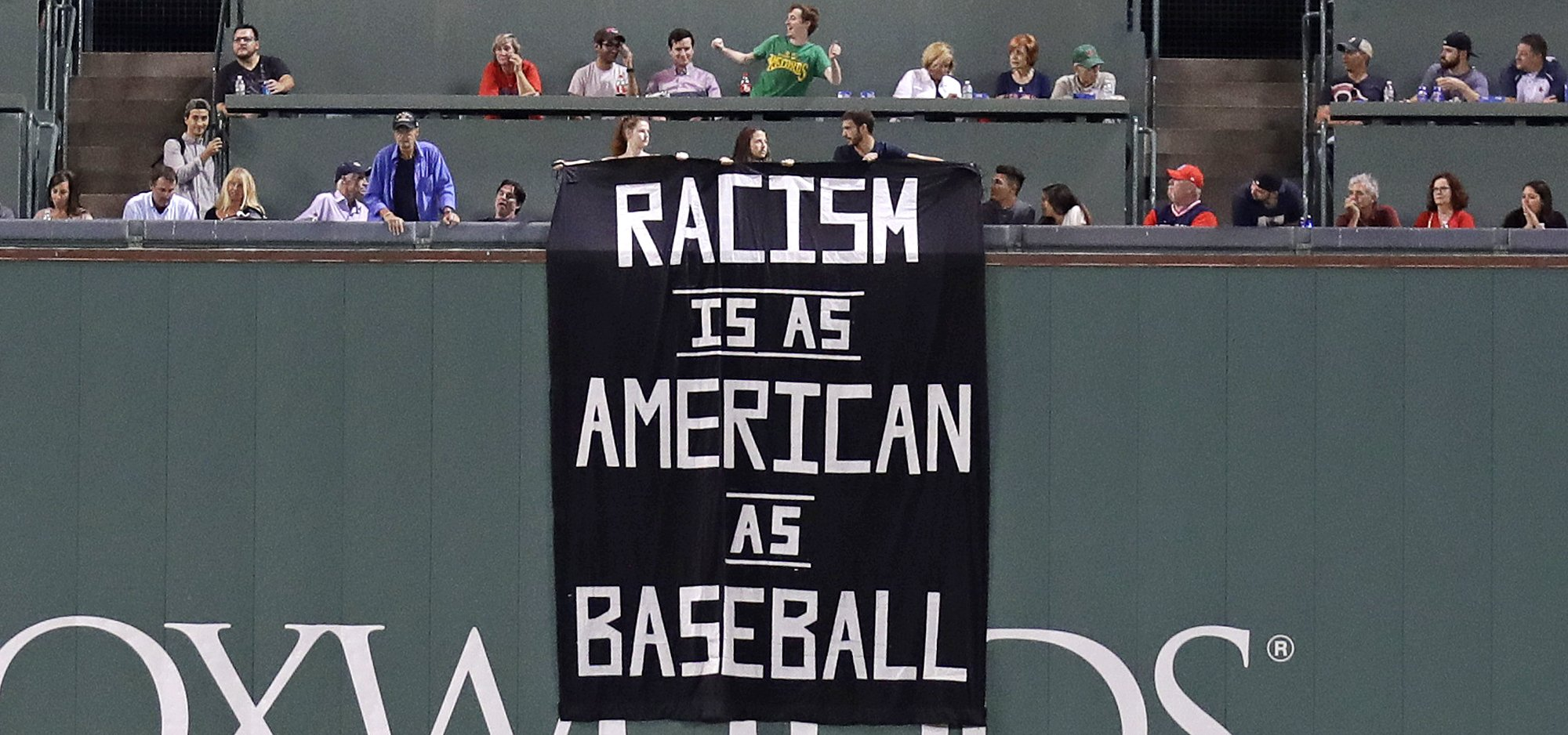 'Racism-Is-as-American-as-Baseball'-Banner-Unfurled-at-Fenway