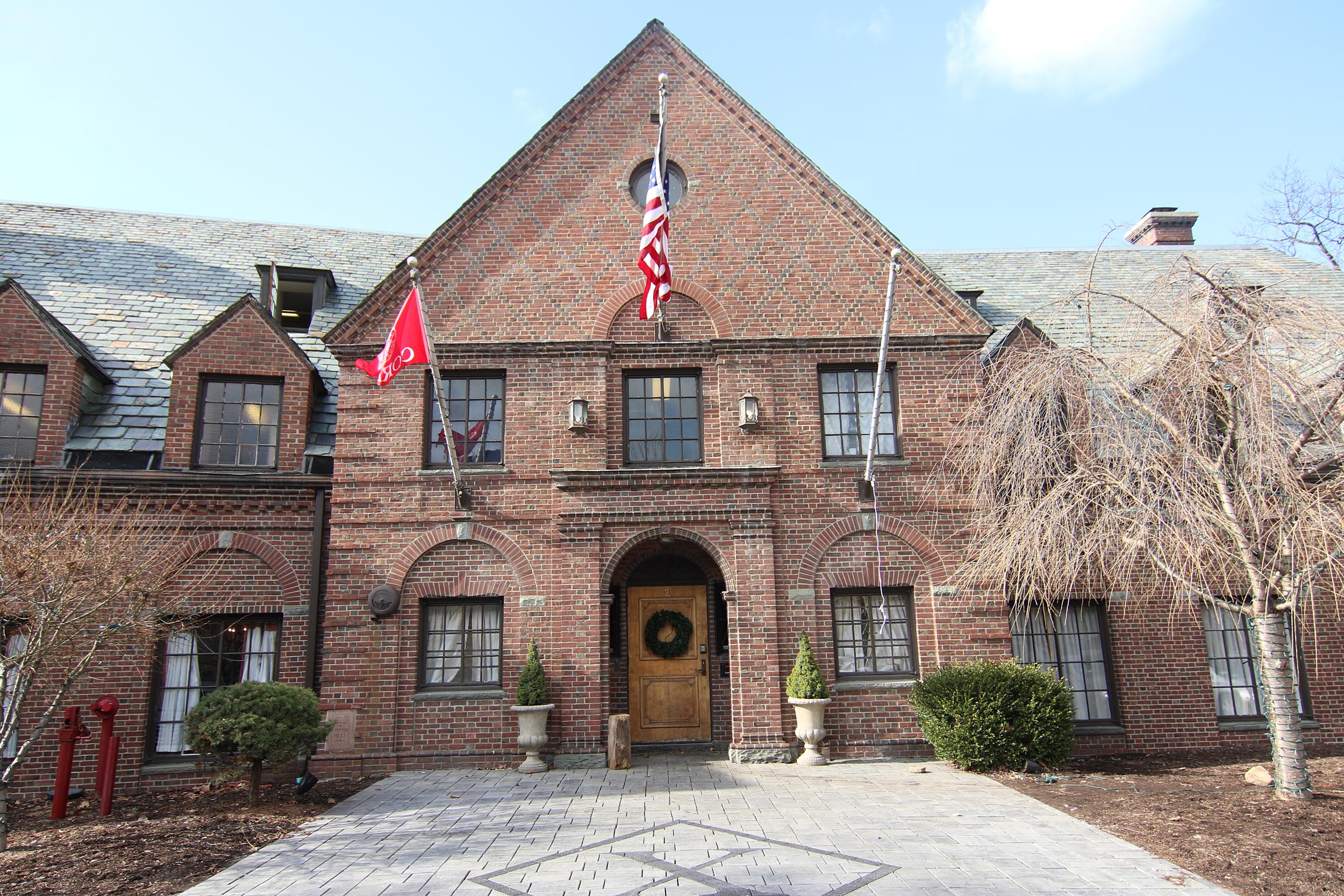 Image: Psi Upsilon fraternity house on west Campus of Cornell University.
