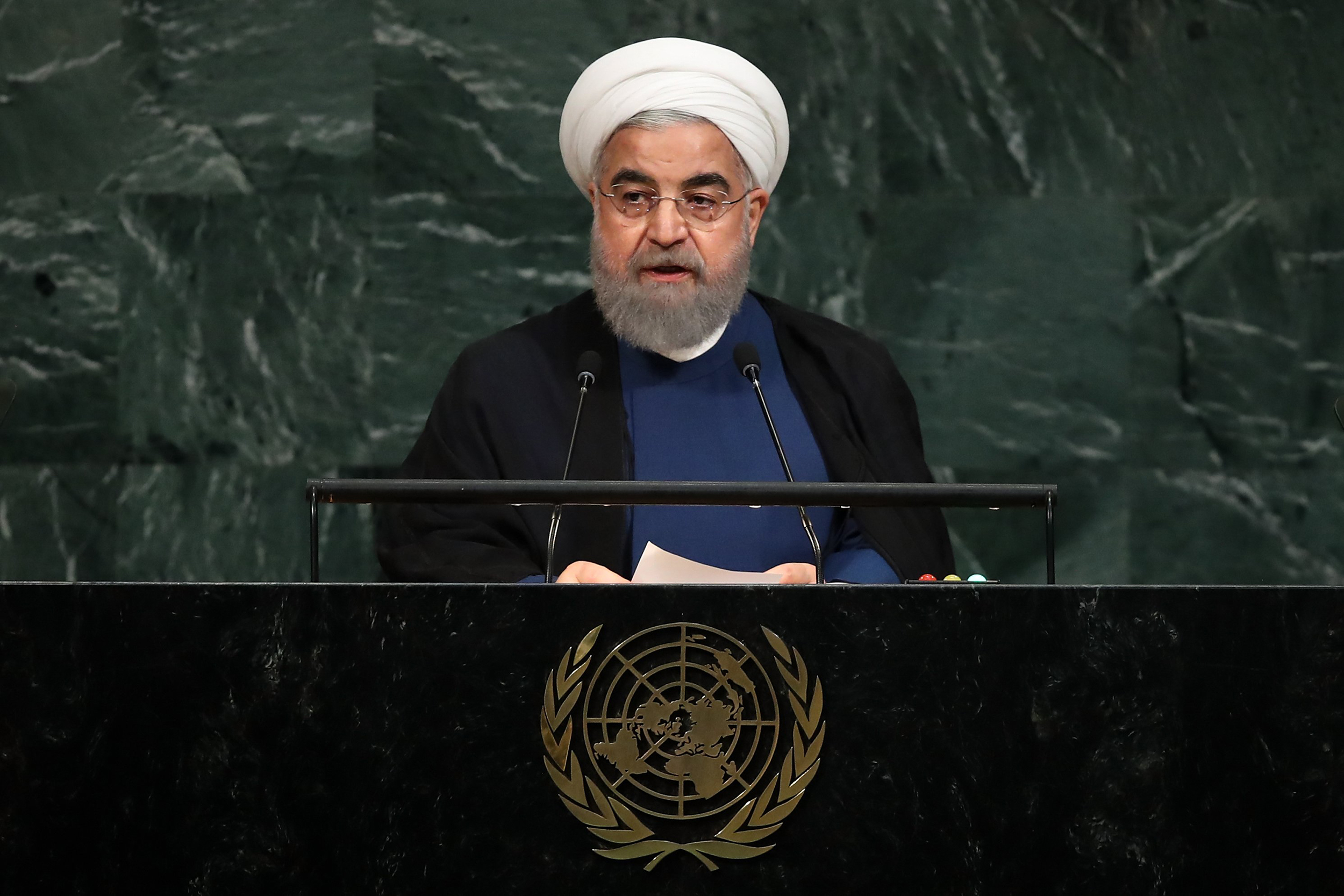 Image: Iran's President Hassan Rouhani addresses the United Nations General Assembly at U.N. headquarters