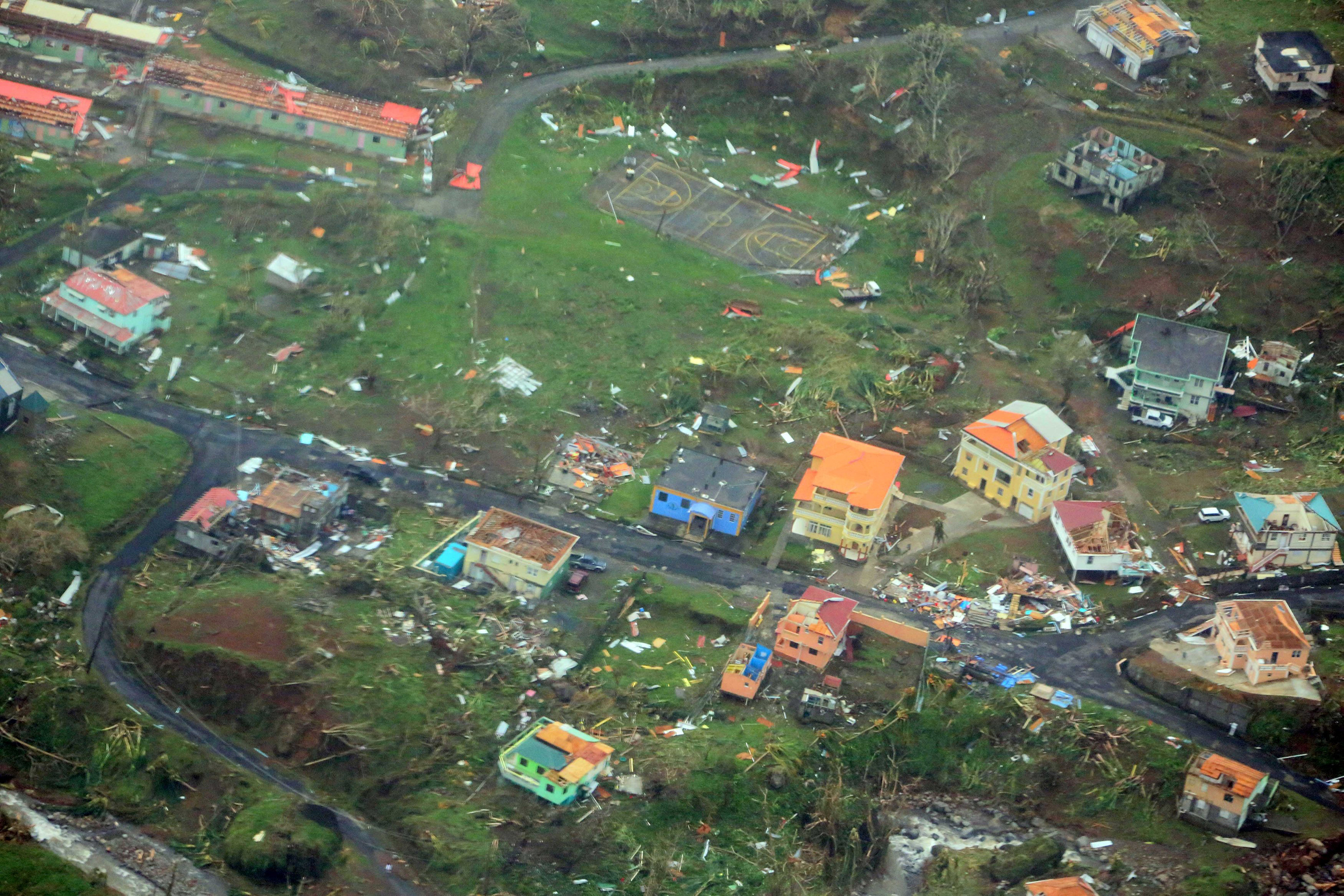 hurricane maria dominica aerial pictures show total destruction