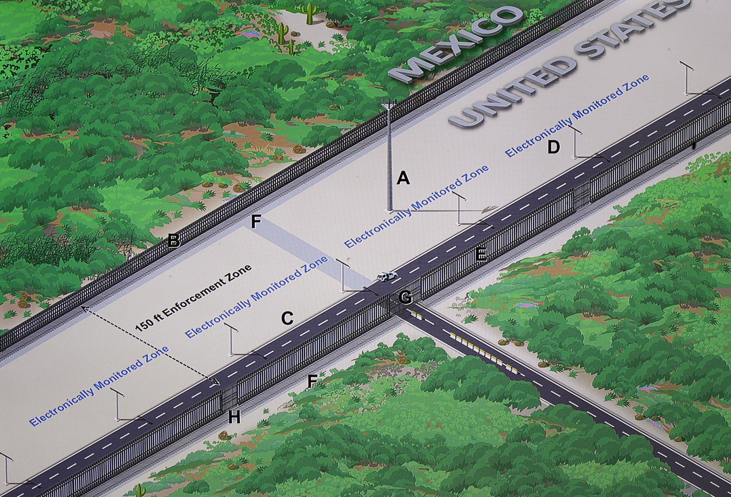 Image: A concept illustration of a U.S.-Mexico border enforcement zone