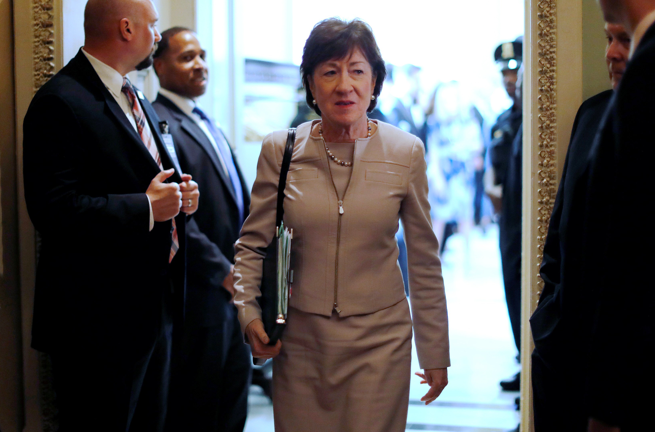 Image: U.S. Senator Collins departs after the weekly Republican caucus policy luncheon at the U.S. Capitol in Washington
