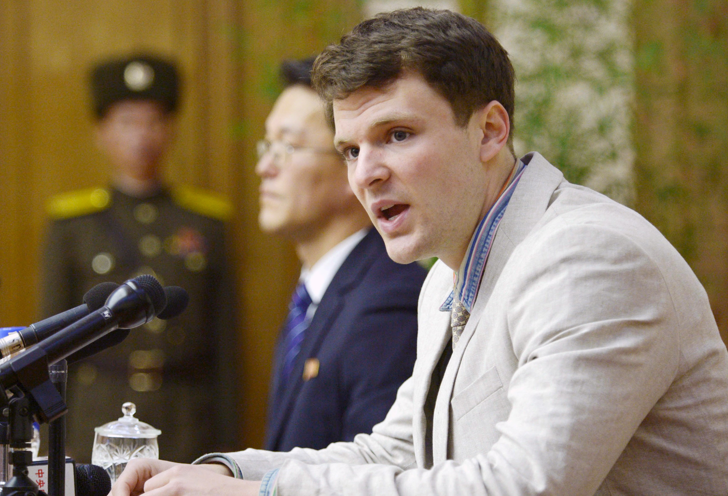 Image: Otto Warmbier attends a new conference in Pyongyang North Korea