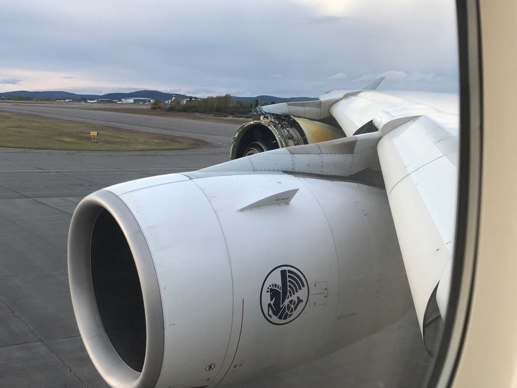 Image: The damaged engine seen after landing in Goose Bay, Labrador.