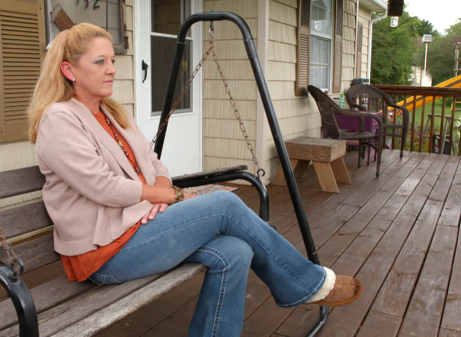 Image: Libby Harris, 45, sits at her home in Tennessee.