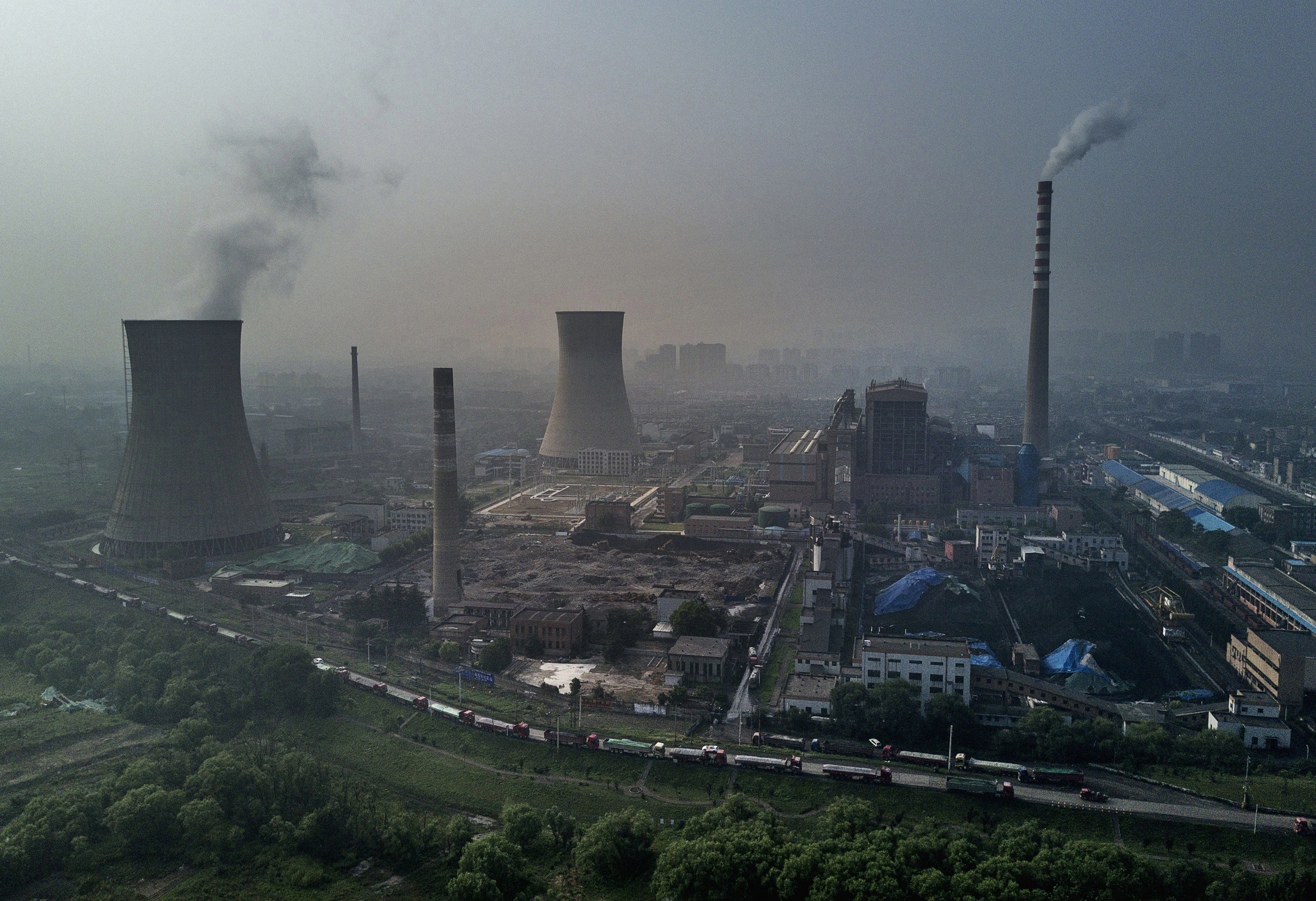 Image: A Chinese state owned coal fired power plant operates in Huainan