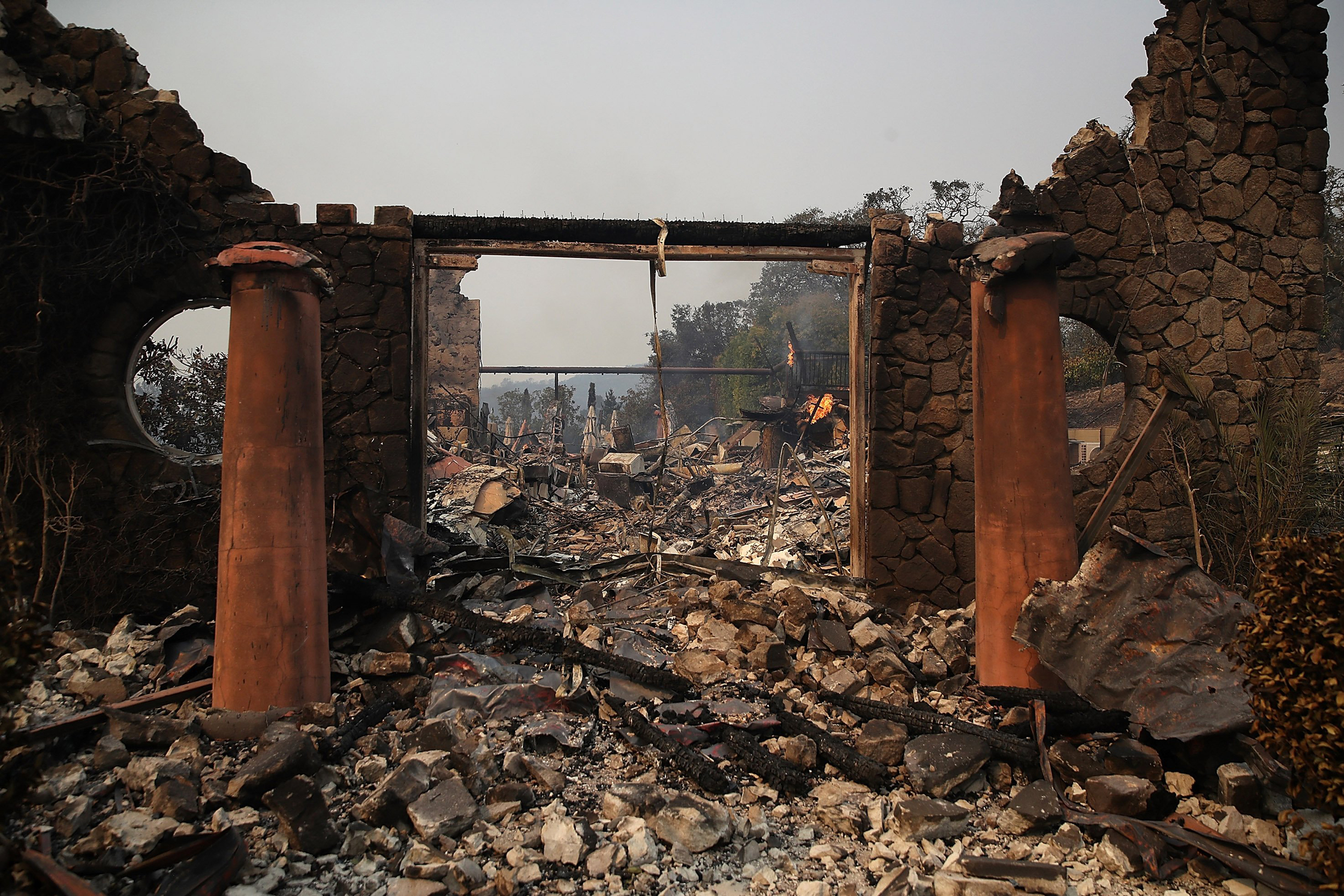 Image: The remains of the fire damaged Signarello Estate winery