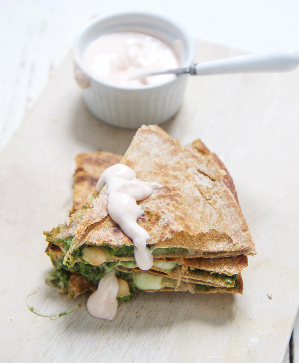 Image: Kale, Spinach and Apple Quesadilla