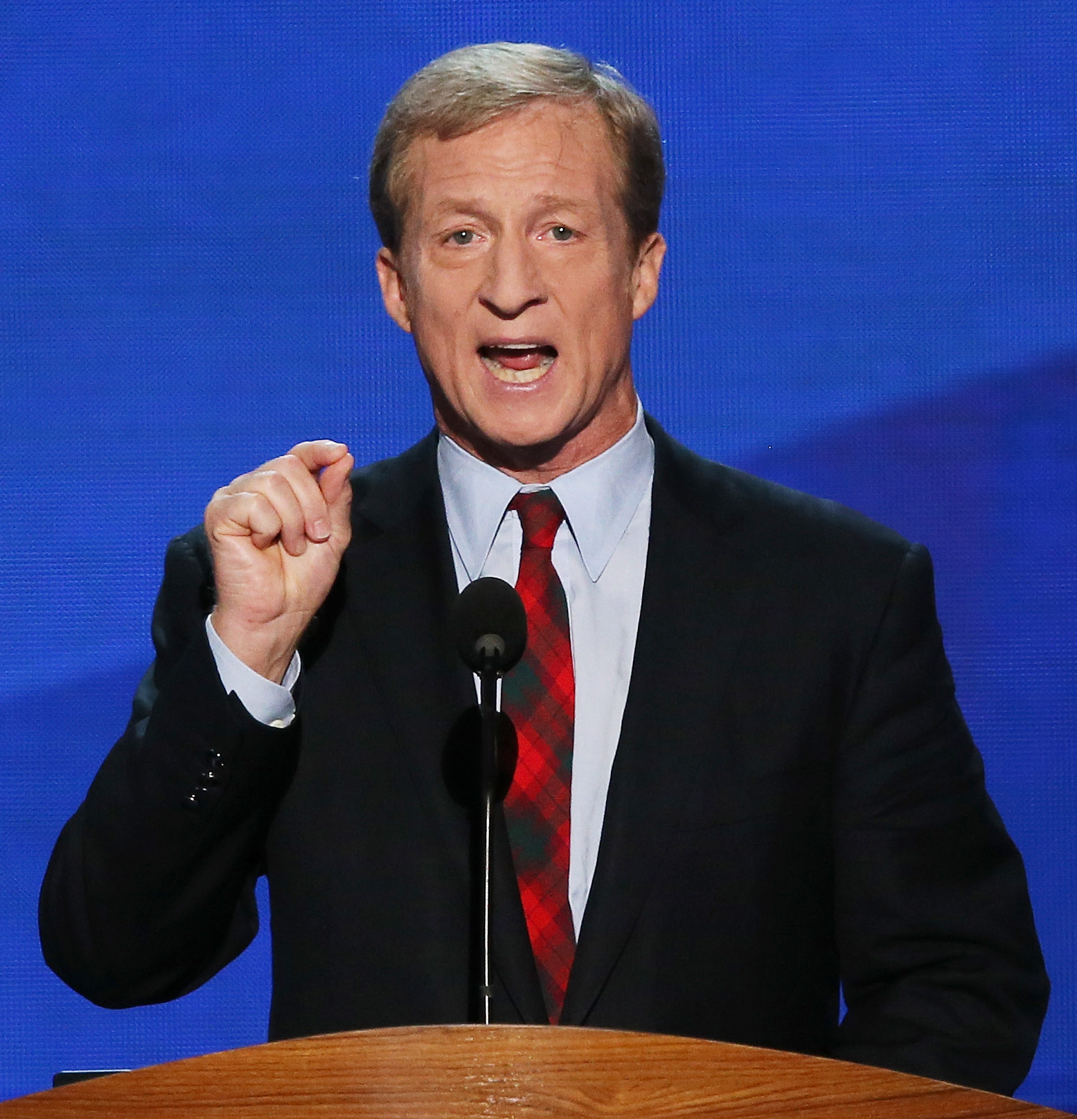 Image: Co-Founder of Advanced Energy Economy Tom Steyer speaks during day two of the Democratic National Convention