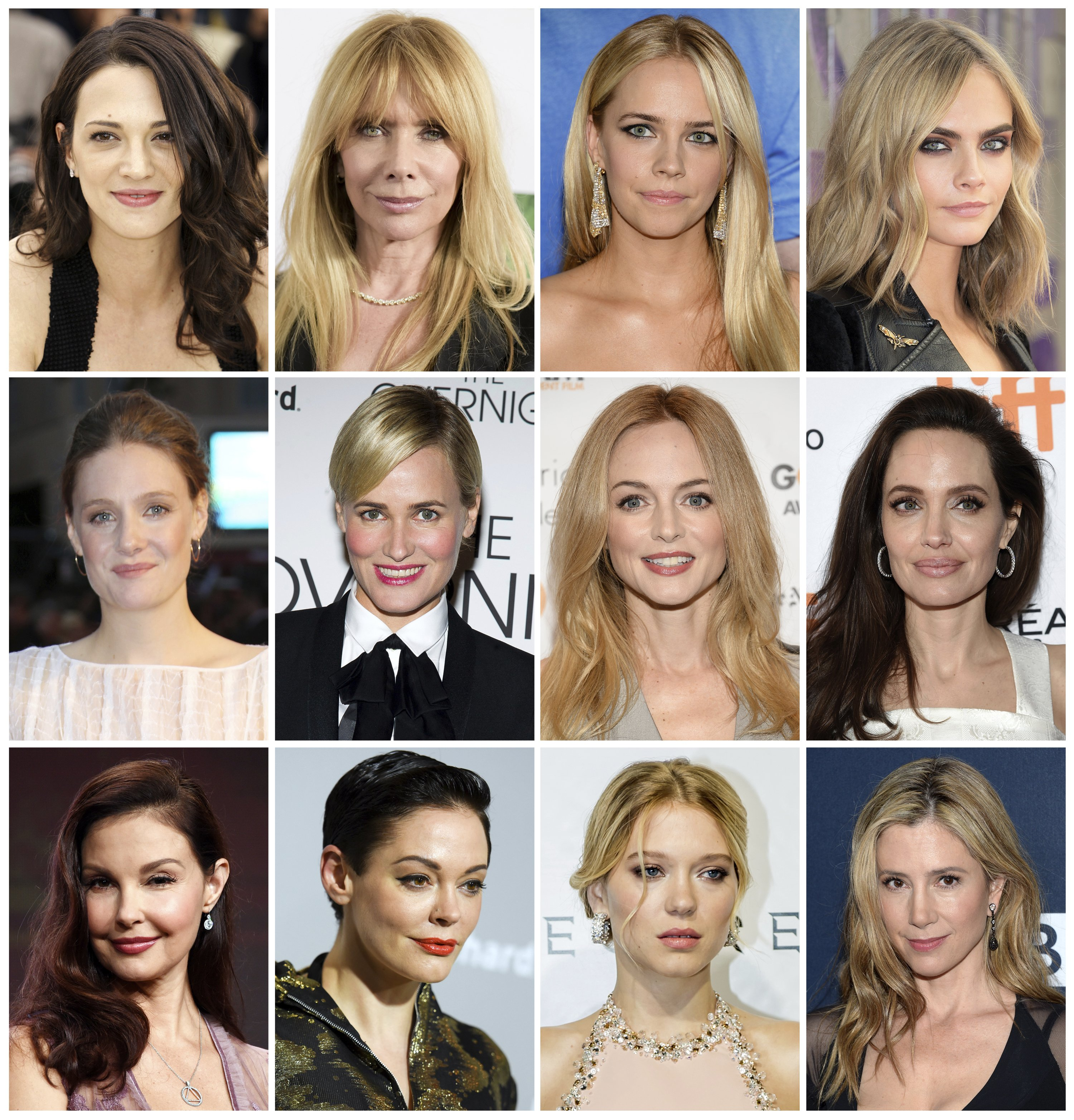 Image: A composite picture of some of the actresses who have made allegations against Harvey Weinstein. (AP Photo/File)