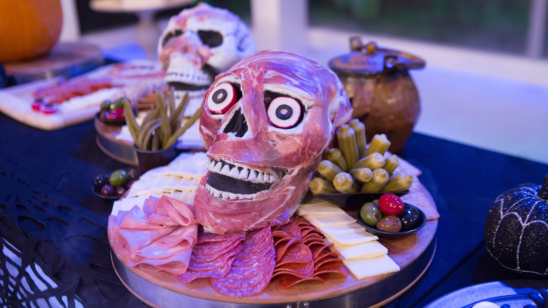 Give guests a Halloween feast and fright with this meat and cheese skull