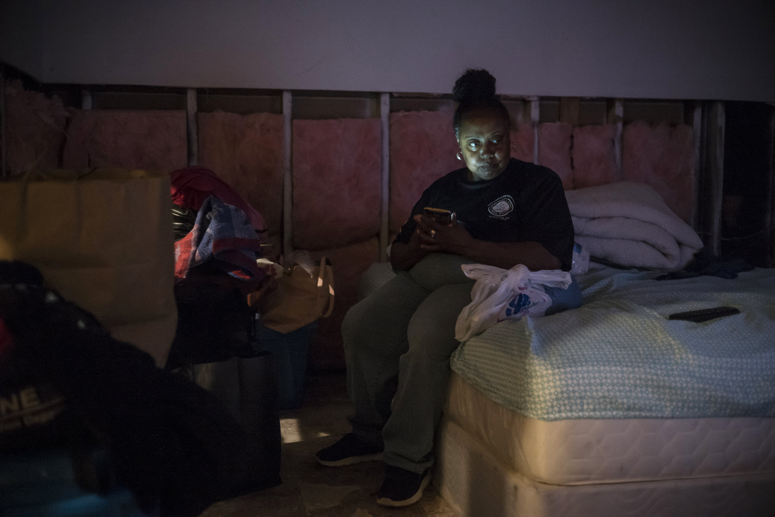 Image: Vickie Carson has just moved back to her home that was badly damaged by Hurricane Harvey