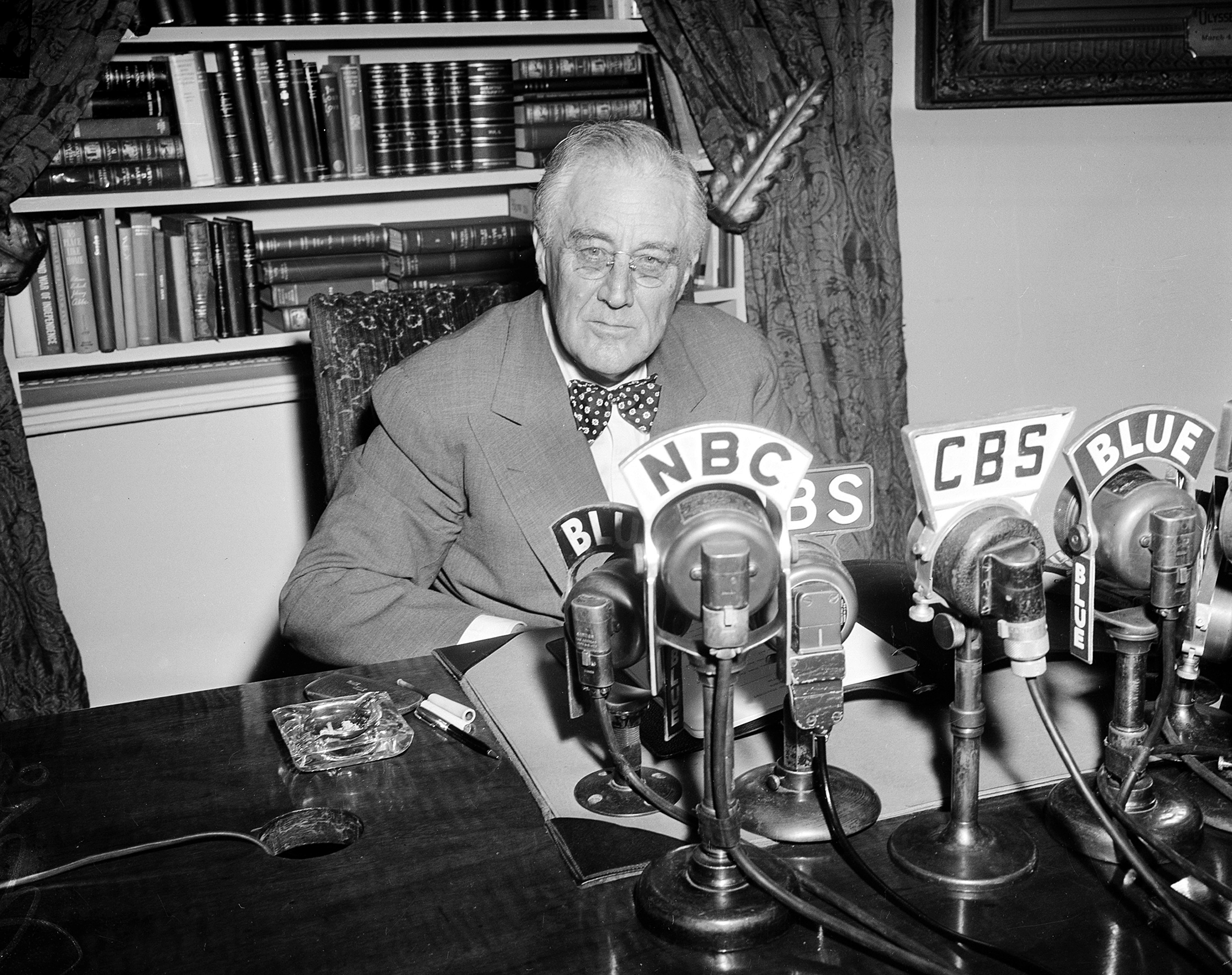 Image: U.S. President Franklin Roosevelt is seen shortly before addressing the public