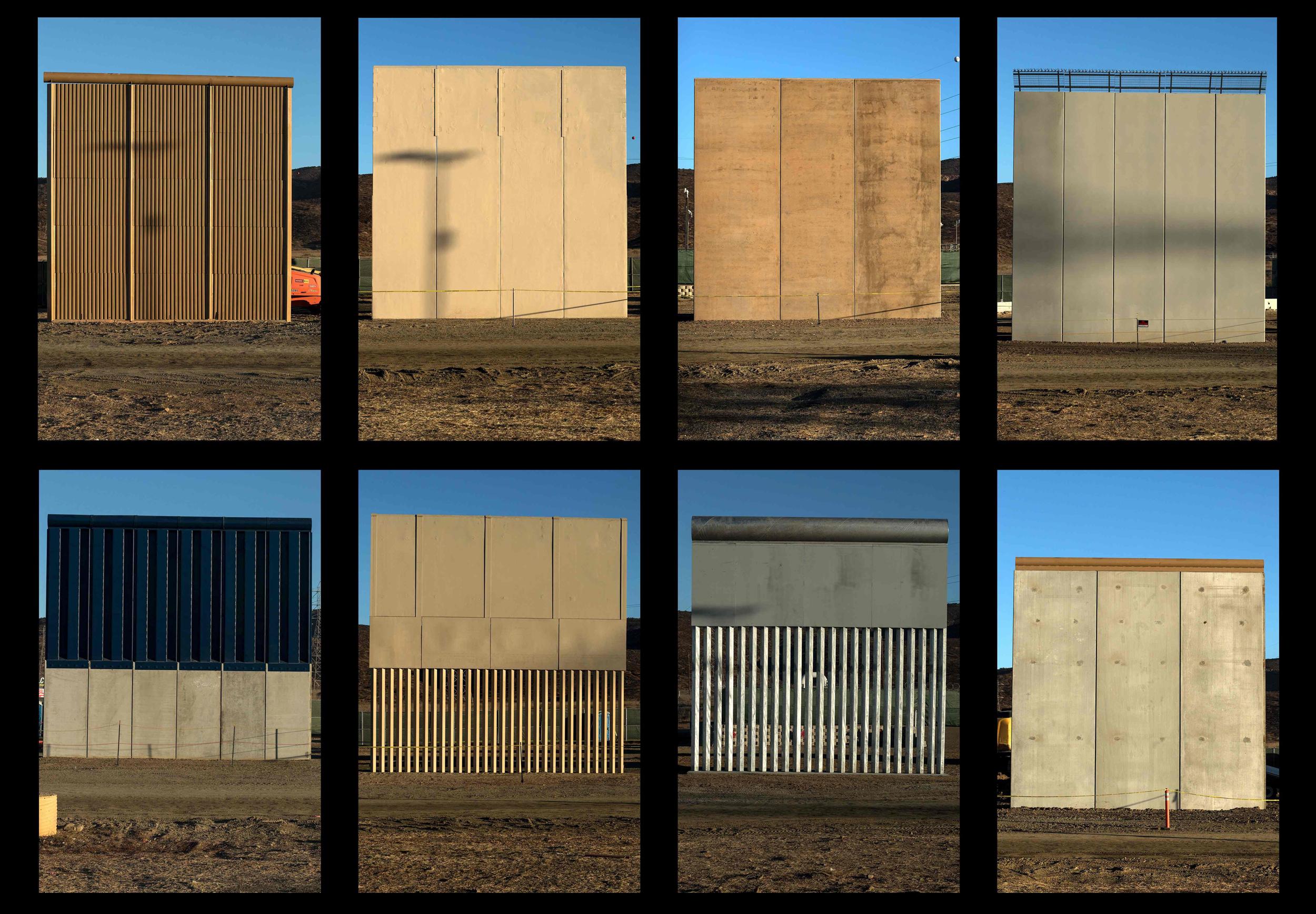 Image: The eight prototypes of President Donald Trump's U.S.-Mexico border wall near San Diego