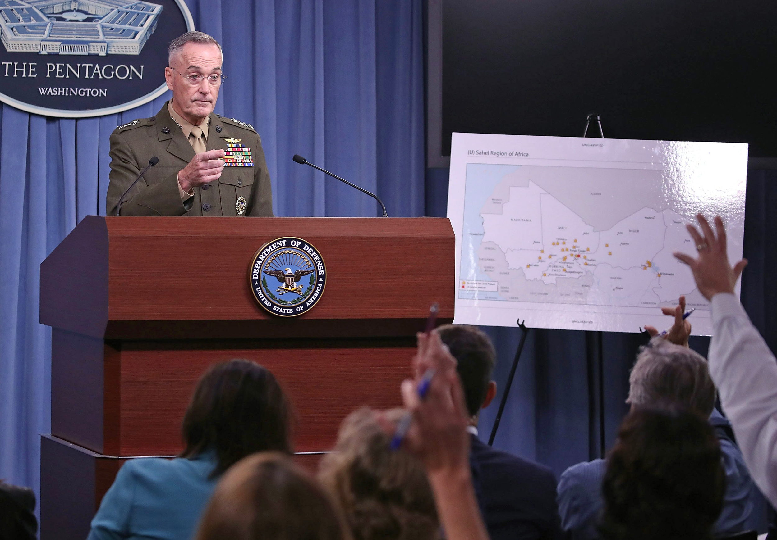Image: Chairman Of The Joint Chiefs Of Staff Gen. Dunford Holds Briefing At Pentagon