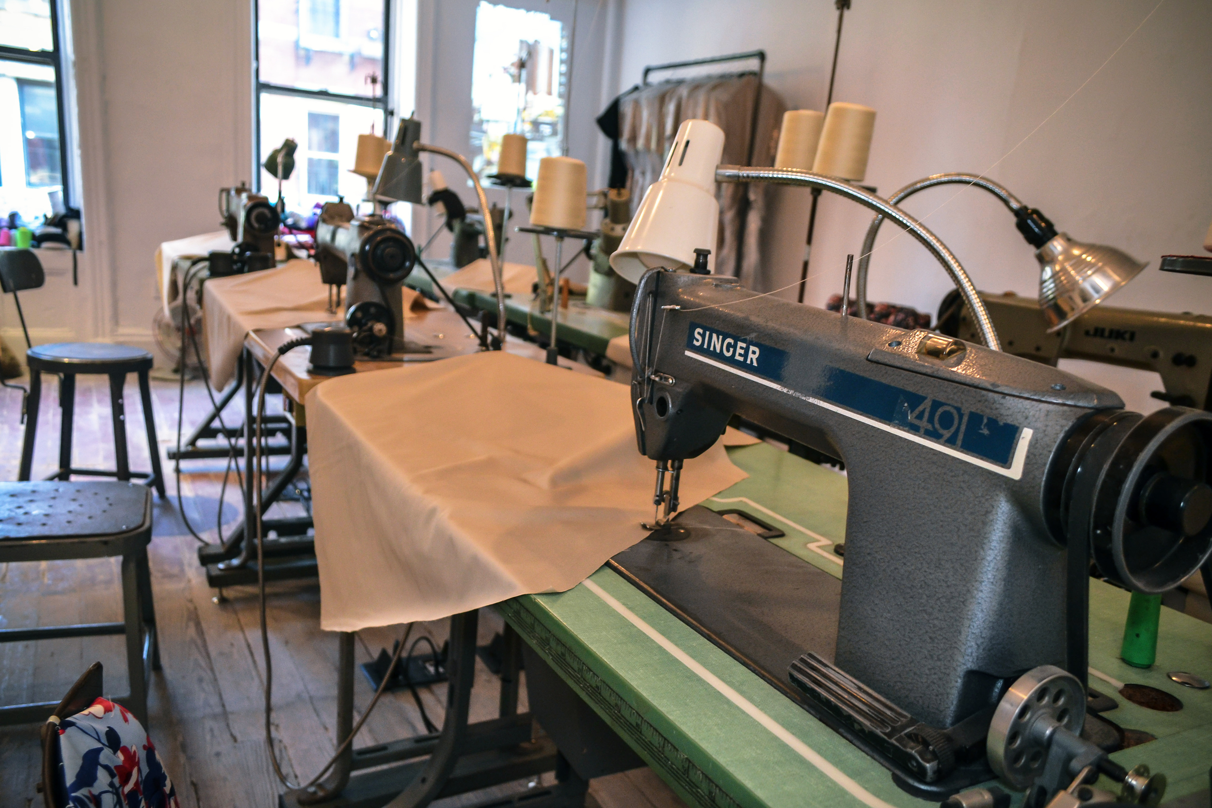 Image: Singer sewing machines in the Garment Shop.