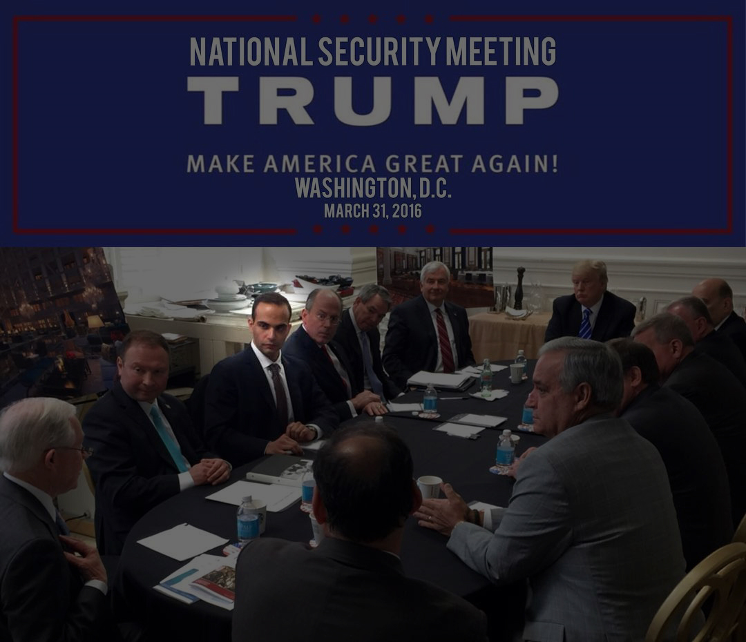 Image: George Papadopoulos, third from left, meets with then-presidential candidate Donald Trump on March 31, 2016 at a