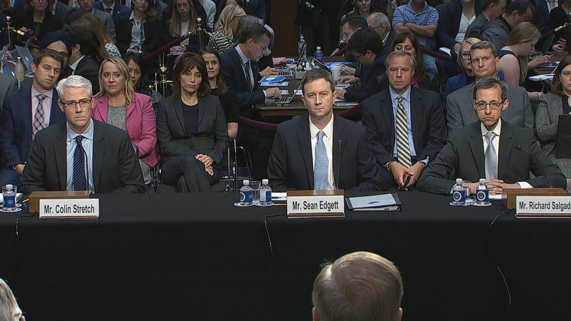 Image: Facebook General Counsel Colin Strech, Twitter Acting General Counsel  Sean Edgett and others testify at Senate hearing on Russian interference in the 2016 presidential election.