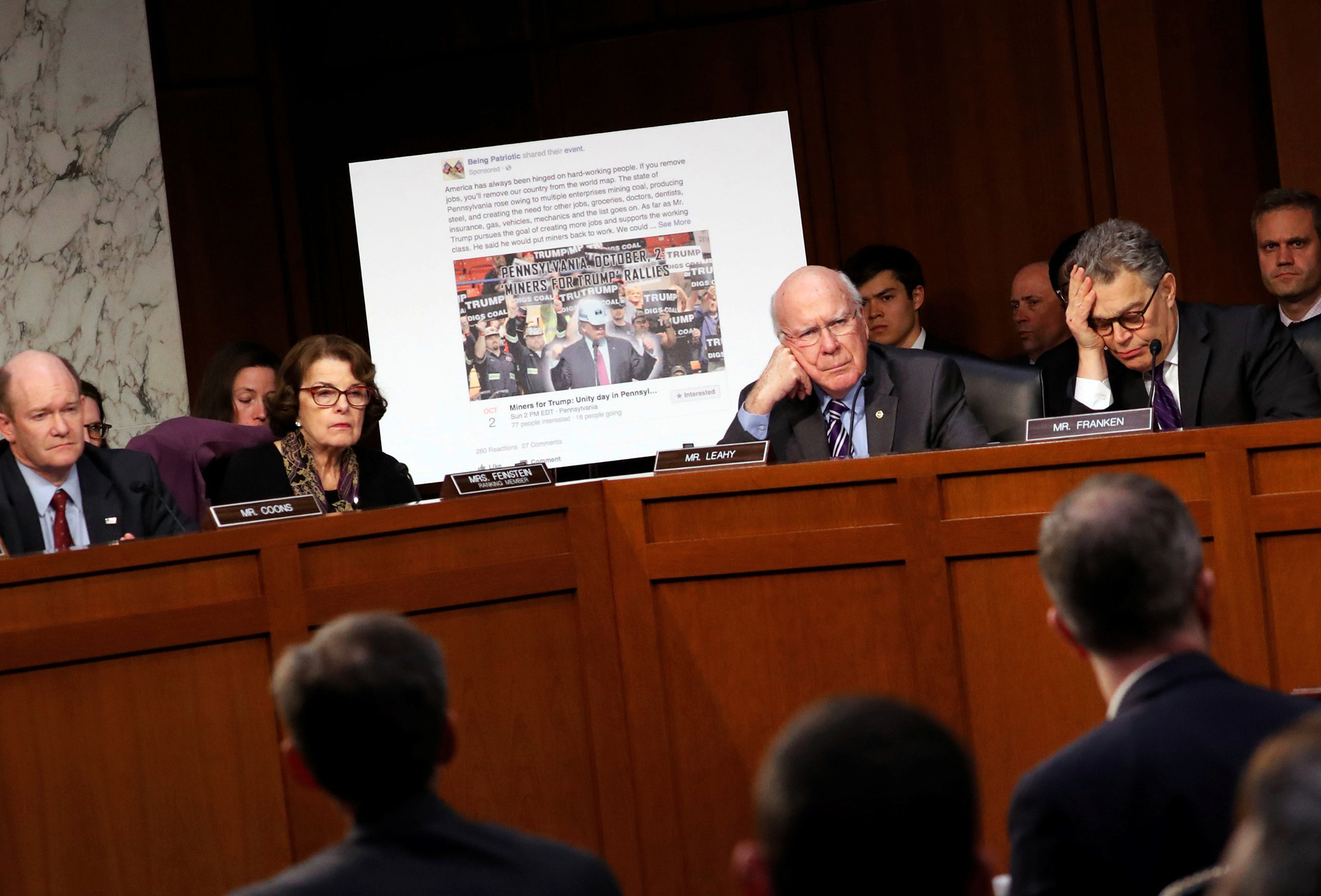 Image: Facebook's Stretch, Twitter's Edgett, and Google's Salgado testify before a Senate Judiciary subcommittee hearing on alleged Russian interference in the 2016 U.S. elections, in Washington