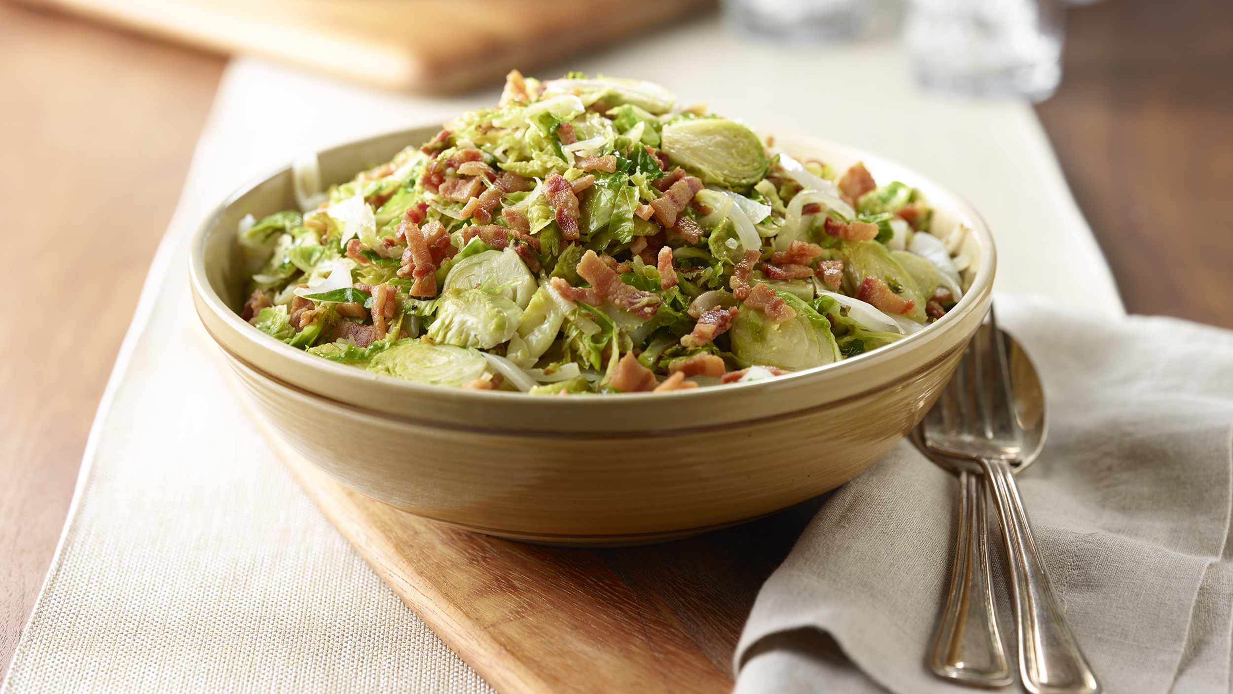 Shredded Brussels Sprouts with Onion and Bacon - TODAY.com