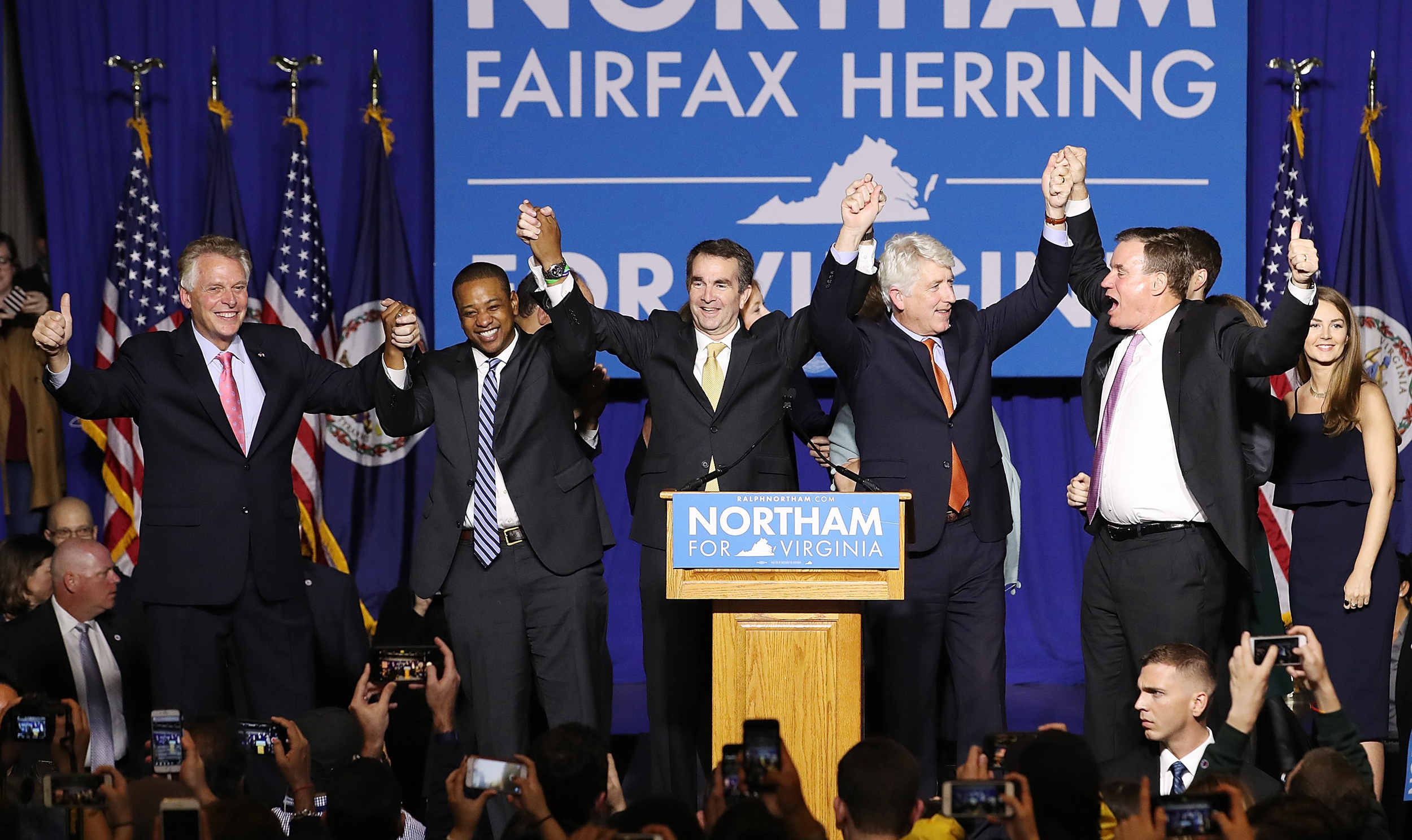 Image: Virginia Gubernatorial Candidate Ralph Northam Holds Election Night Gathering In Fairfax, Virginia